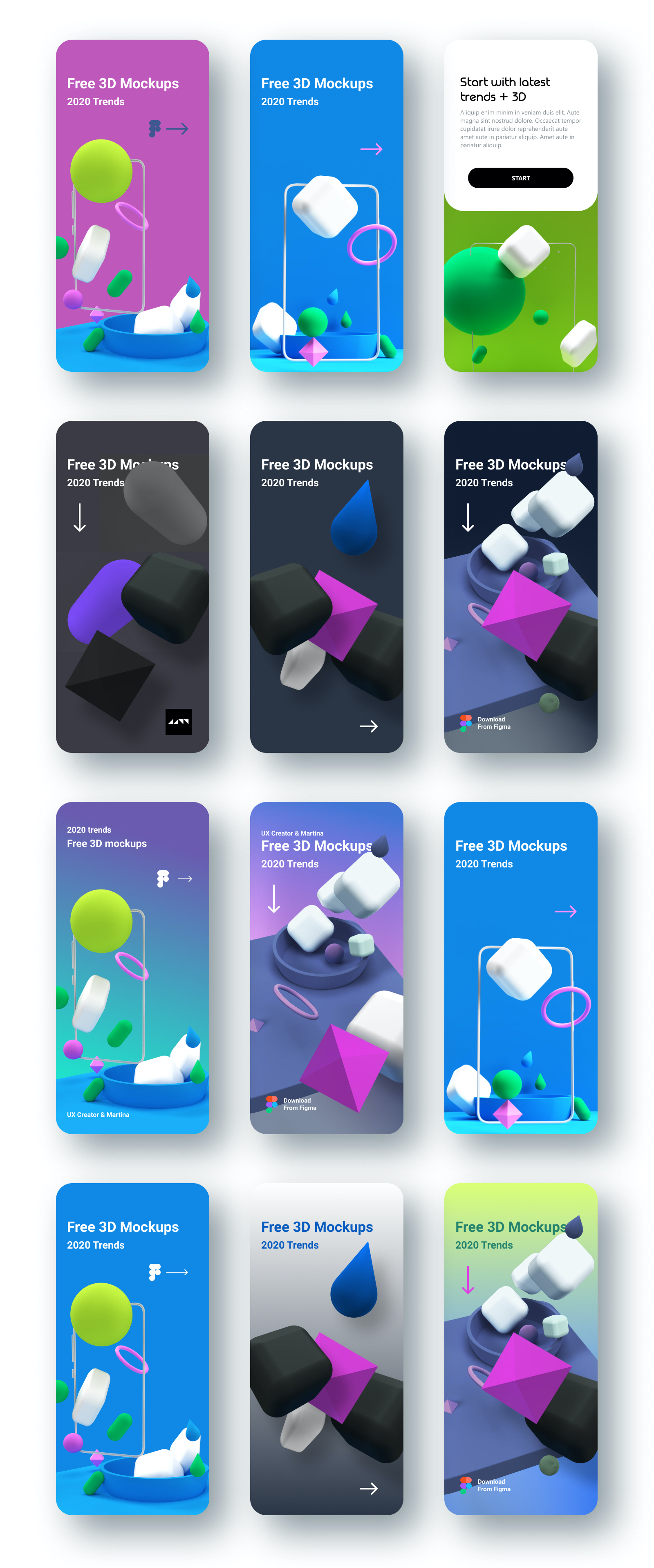 3D Models App Mockups for Figma - 3D models are currently a popular trend in web design. 3D illustrations are very often used in the design of landing pages for apps or websites. Consists of 26 shapes, 22 compositions, and 12 mockups for demonstration purposes.