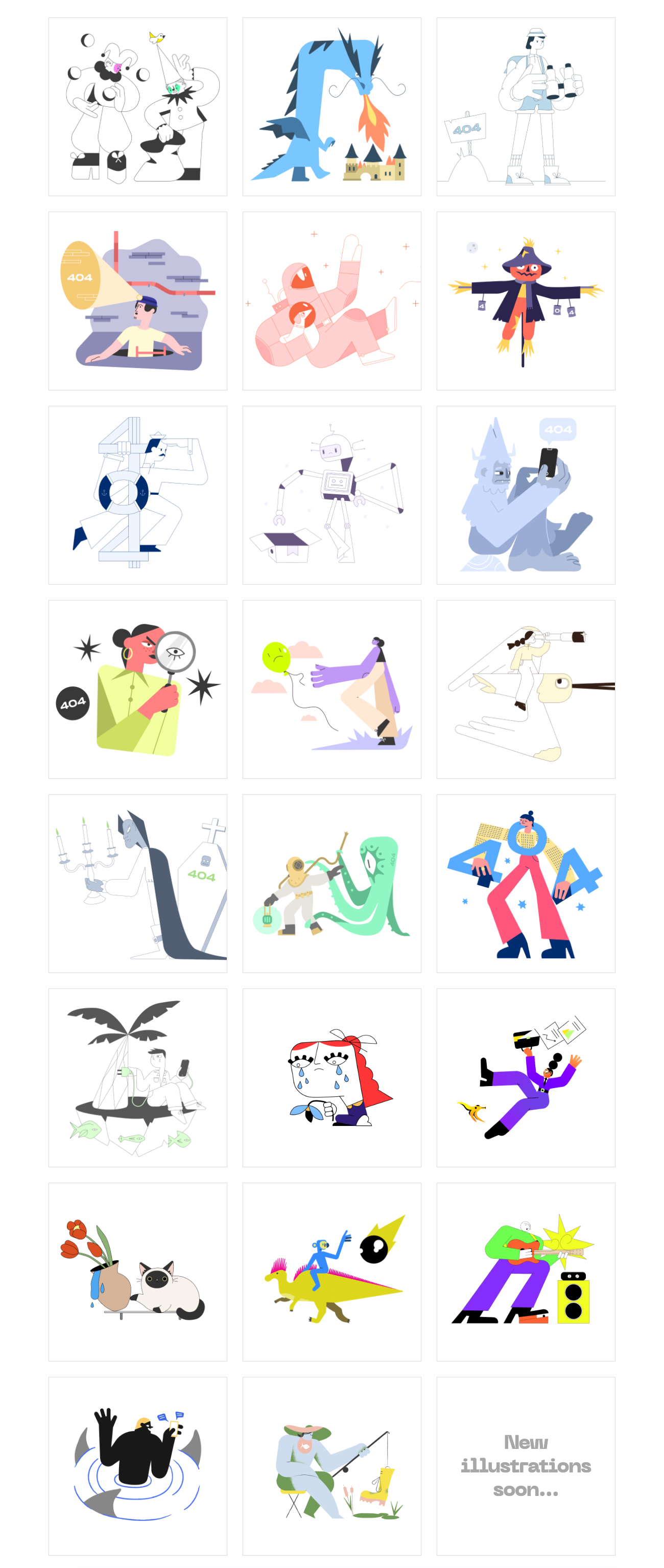 404 Illustrations for Figma & Sketch - A growing collection of open-source illustrations for your page-not-found message. Choose a scene to inform the user of the error occurred with futuristic elements and cute characters. All scenes are compatible with Sketch and Figma.