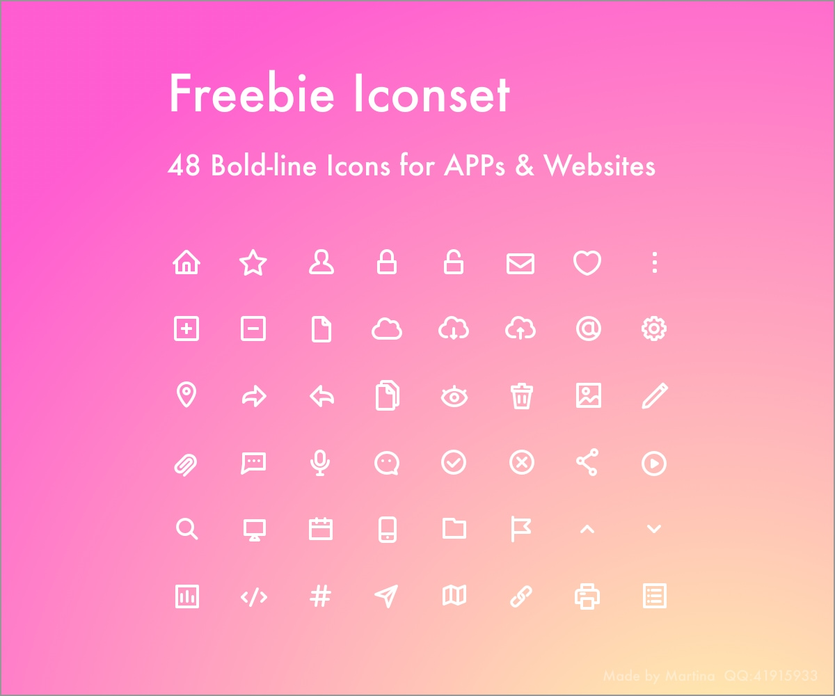 48 Freebie Icons - Bold and Line, includes 48 useful icons. AI and Sketch version