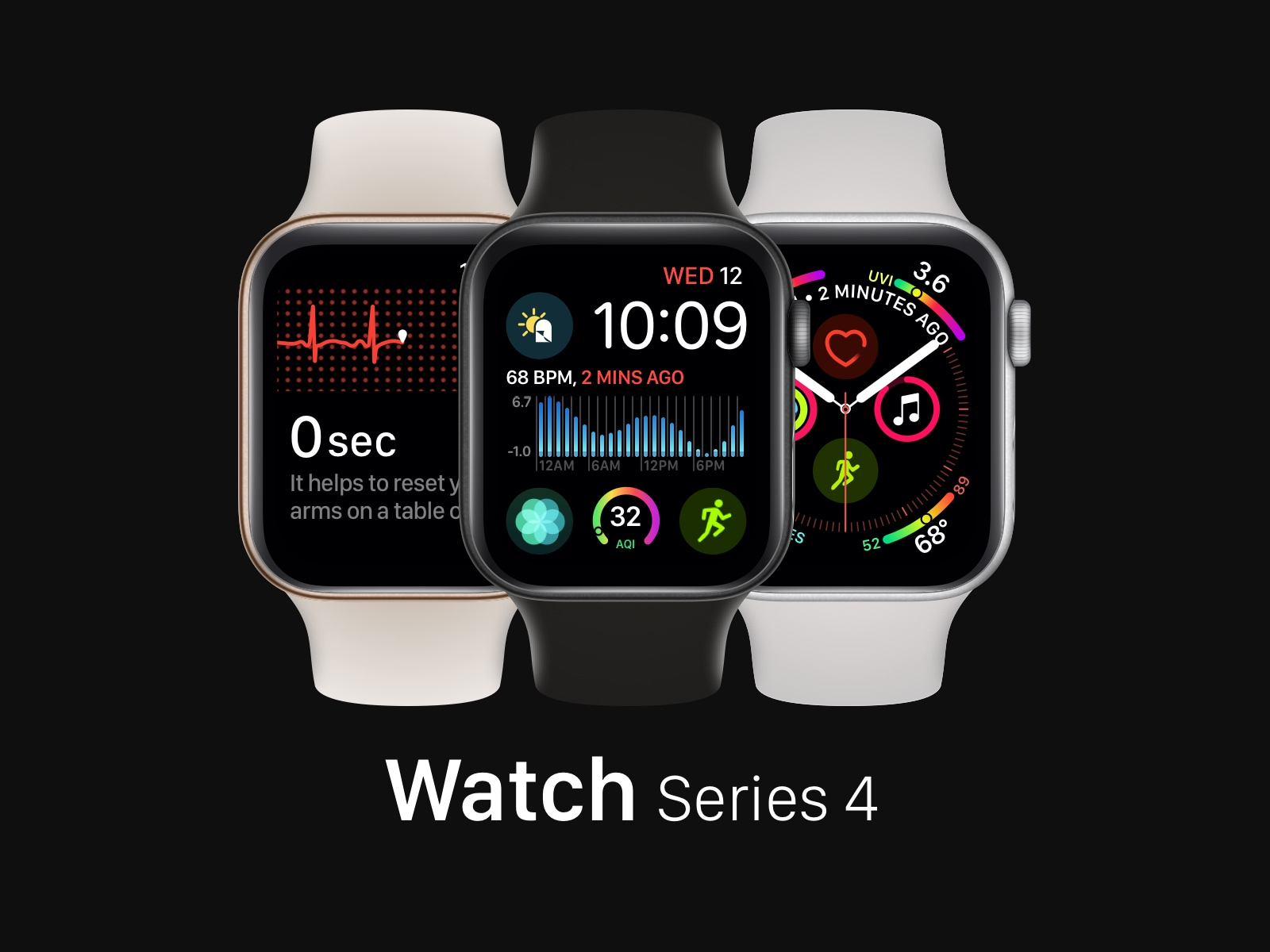 Apple Watch Series 4 Mockups - Easy-to-replace fully-vector based screen mockups for Watch Series 4 with all the color variants
