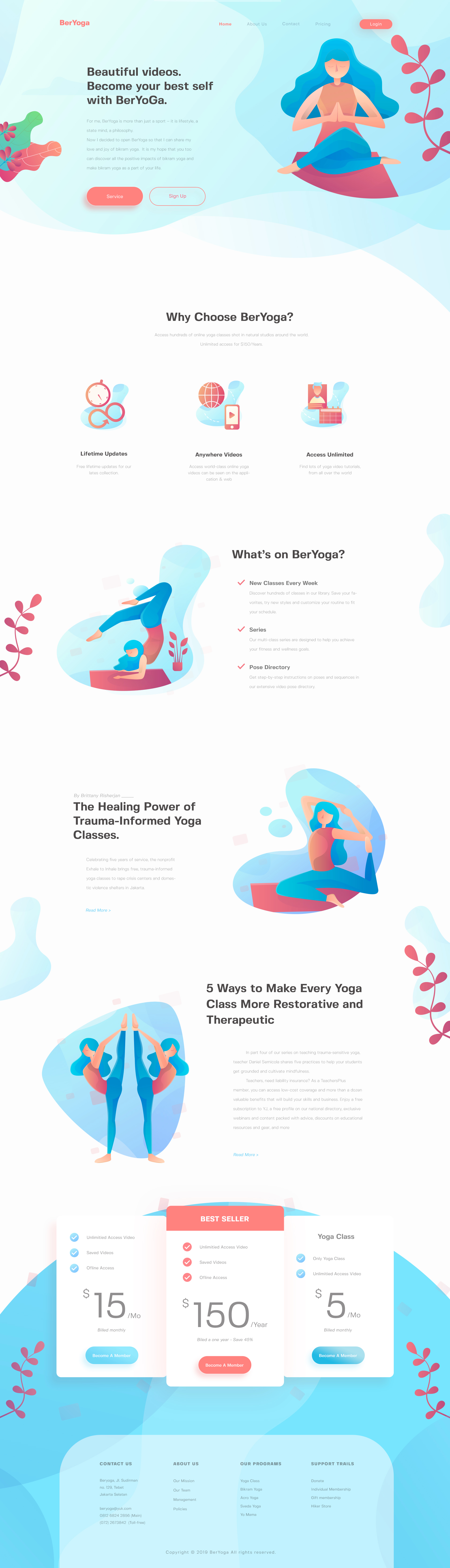 BerYoga - Yoga Landing Page - Elegant and clean landing page design with cool illustration.
