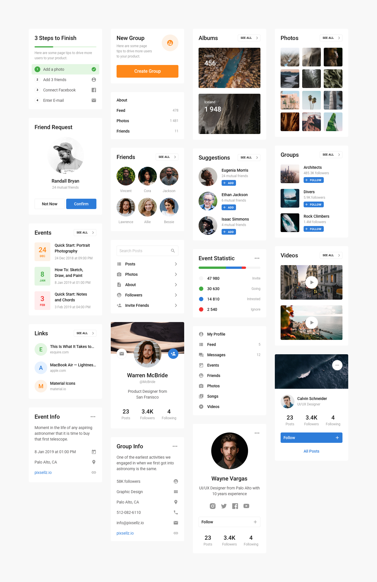 Free Blocke UI Kit - Social - The ultimate universal toolkit for web designers. This kit contains many components from popular categories that will help you quickly design any project at ease. All components are made on the basis of the Design System and you can easily customize it to your needed style.