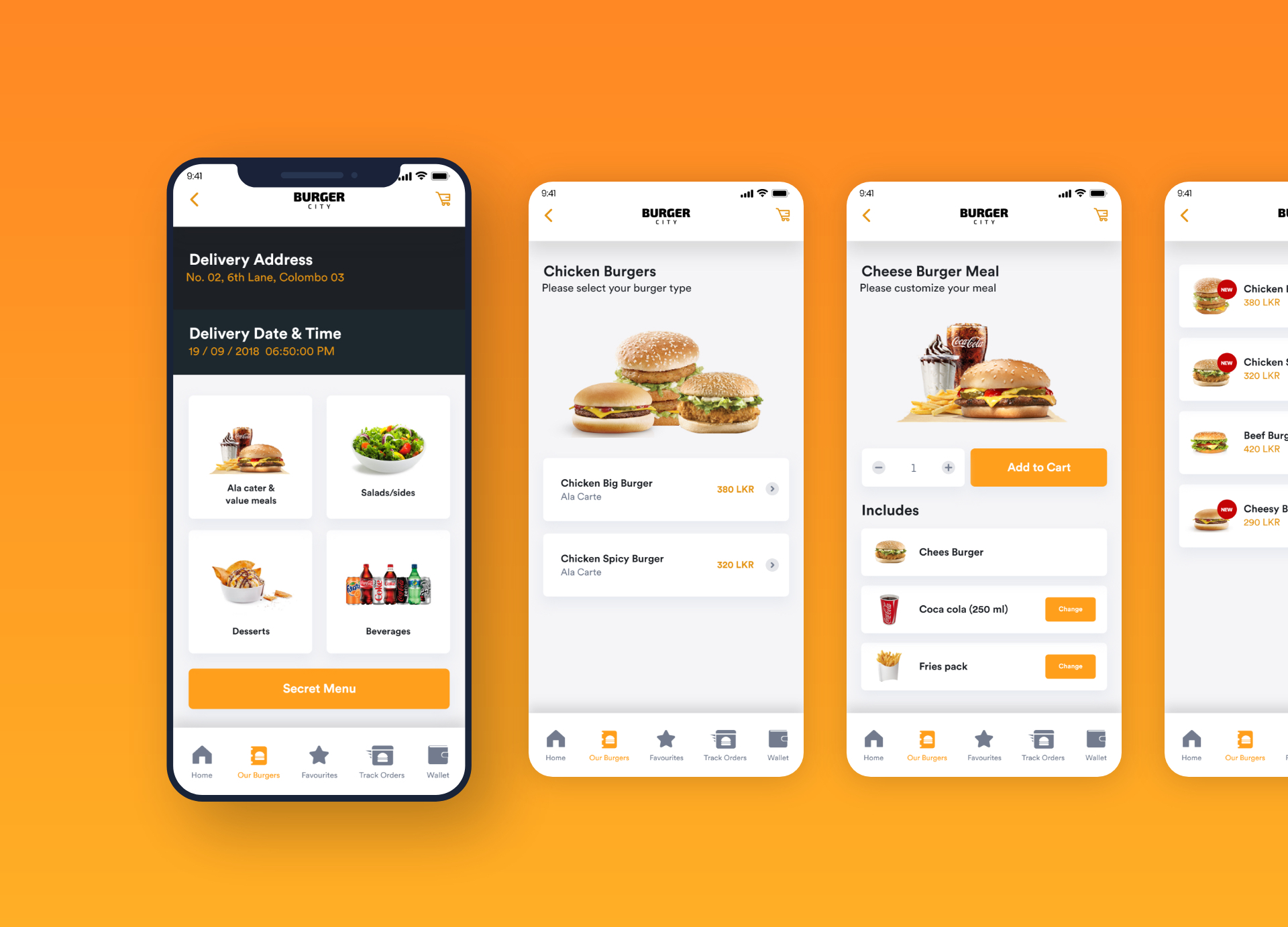 Burger City - Free Adobe XD UI Kit - A mobile UI kit for a burger store. 25 screens for you to get started.
