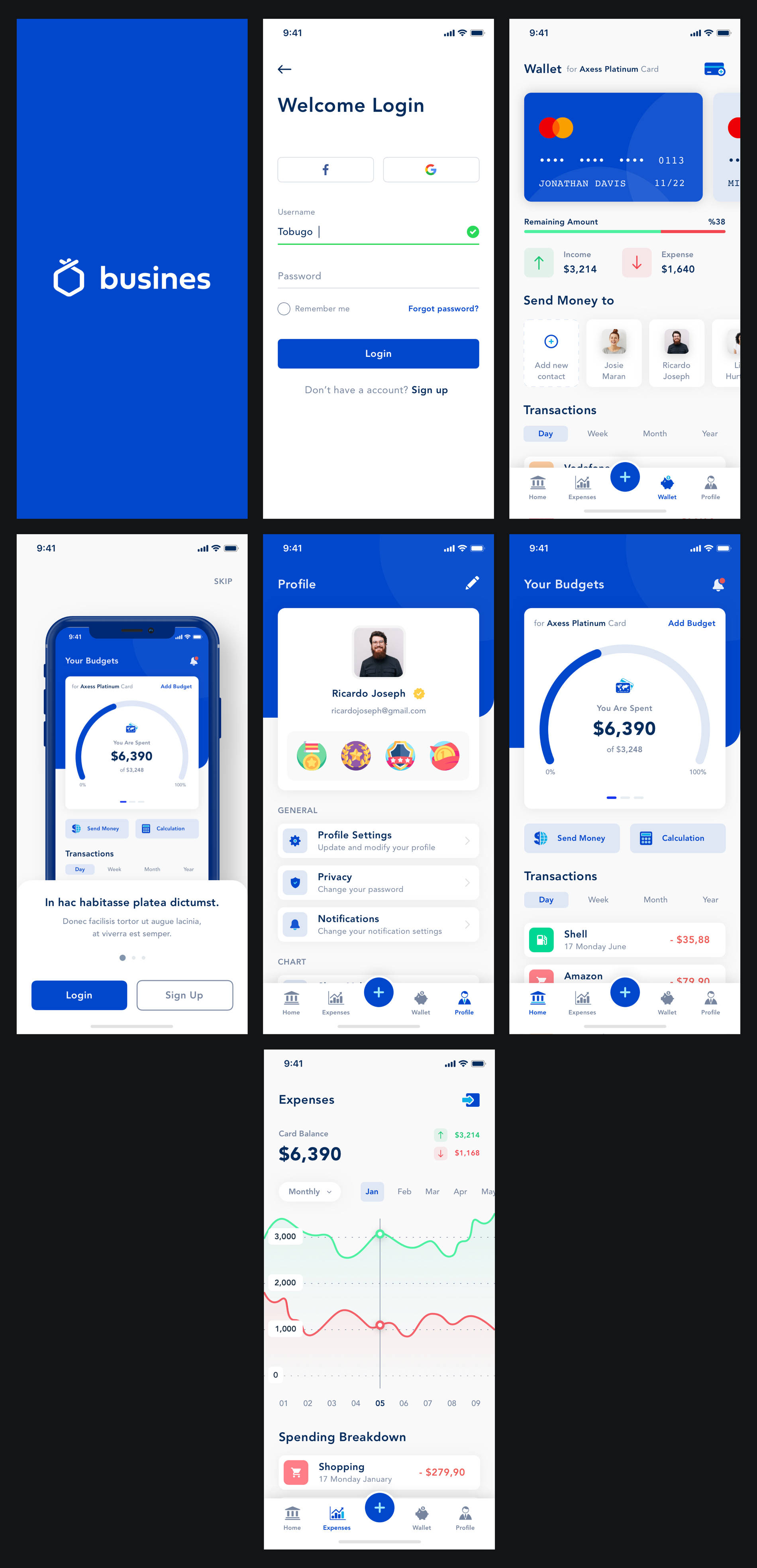 Busines - Bank App for Sketch - Minimal and clean app design, 7 screens for you to get started.