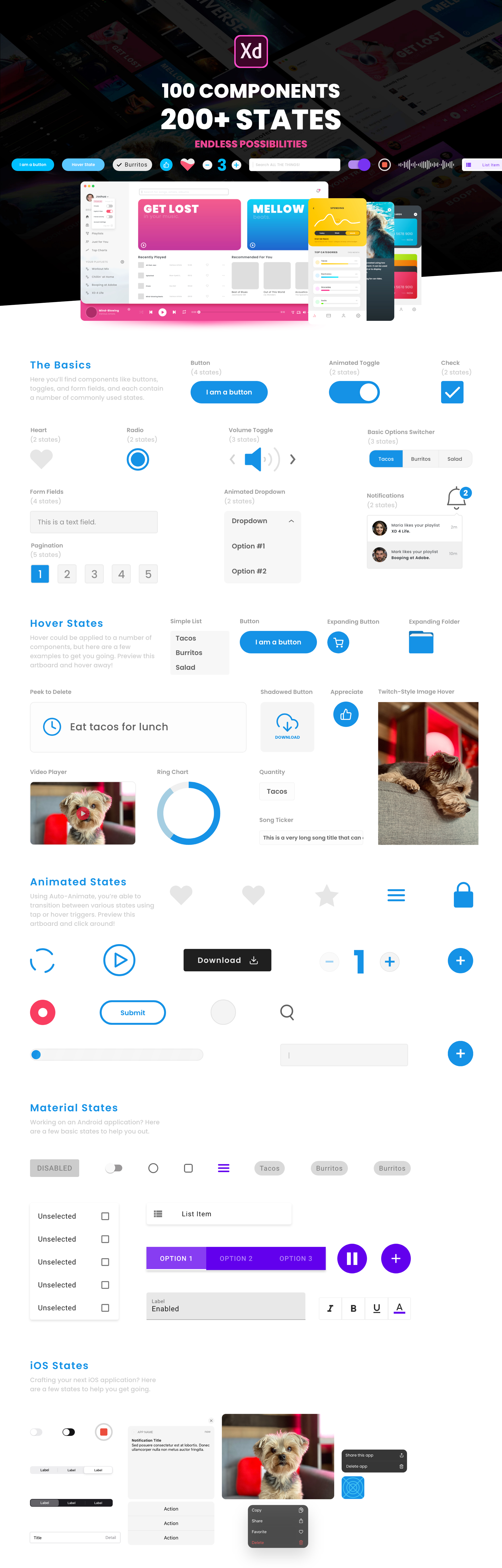 Component States UI Kit for Adobe XD - States have hit Adobe XD and to help sprinkle some inspiration on your projects, I'm releasing this UI kit with buttons, icons, toggles, animations, and more. I've also included a few real-world examples so you can view states in action.