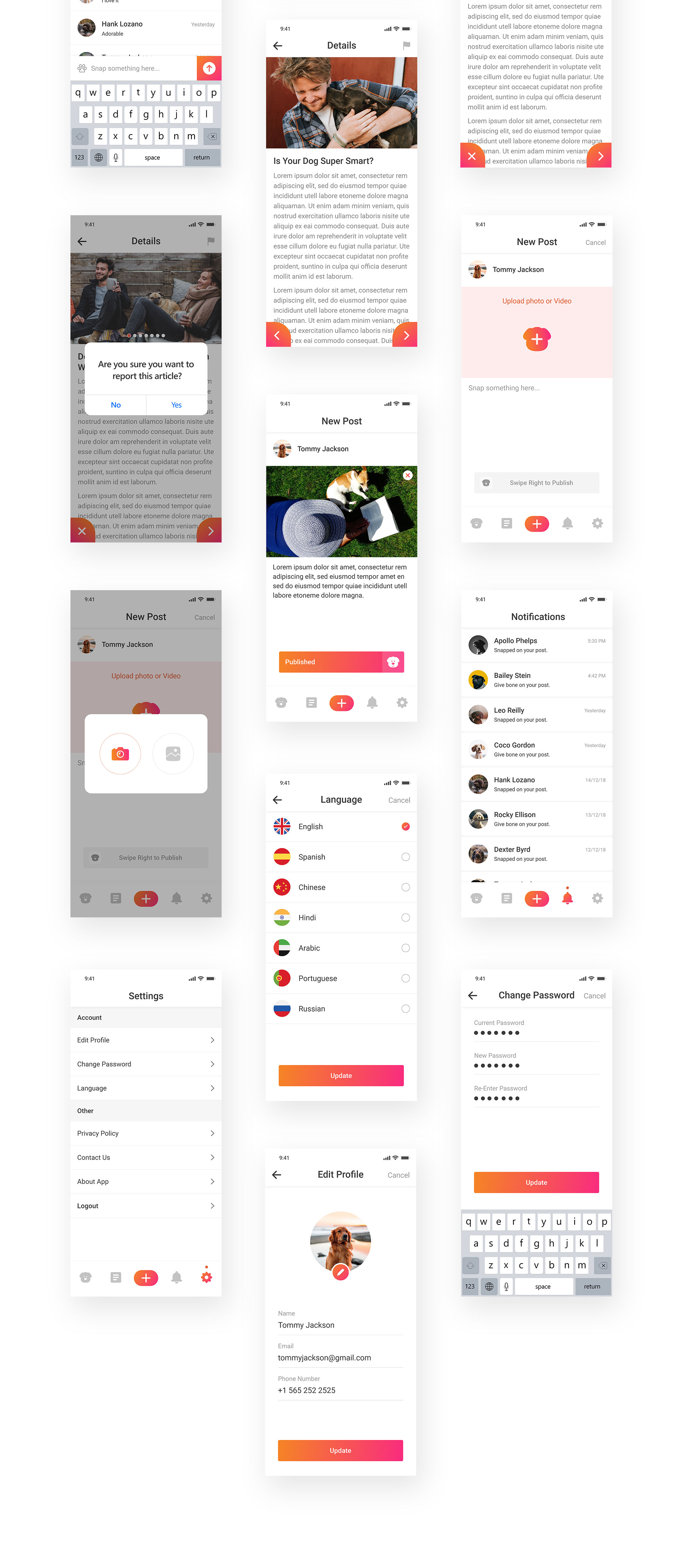 Doglife UI Kit Free for Adobe XD - Doglife is an app for dogs and dogs lovers, who loves to share photos of their dogs and dog's lifestyle. Minimal and clean app design, ready for you to get started.