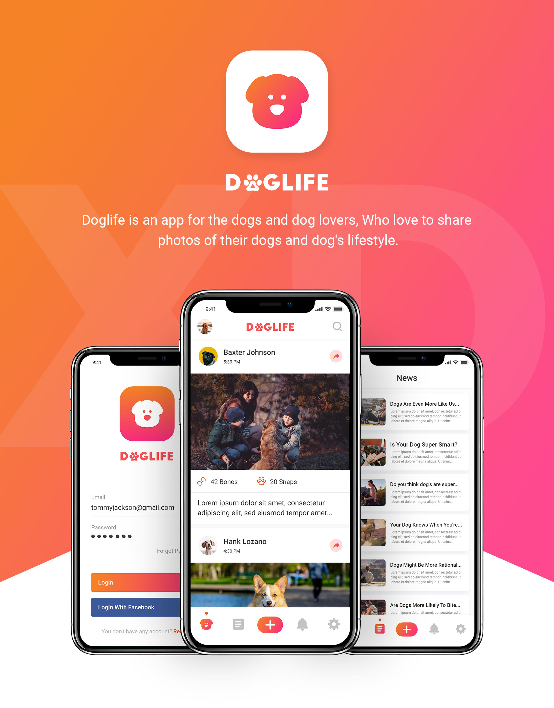 Doglife UI Kit Free for Adobe XD - uistore design