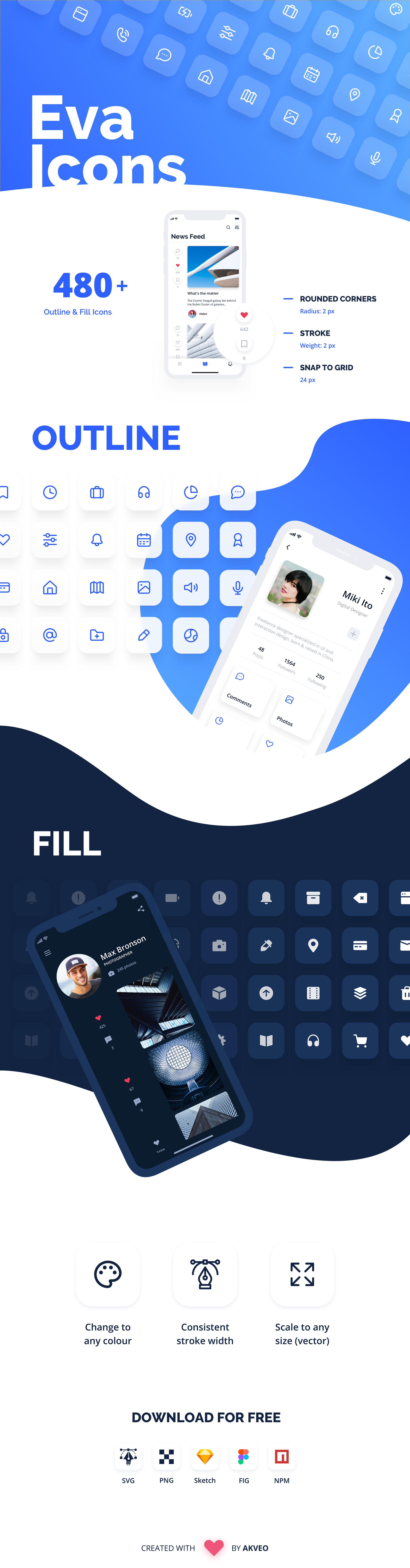 Eva Icons - Eva Icons is a pack of more than 480 beautifully crafted Open Source icons for common actions and items. Download our set on the desktop to use them in your digital products for Web, iOS and Android.