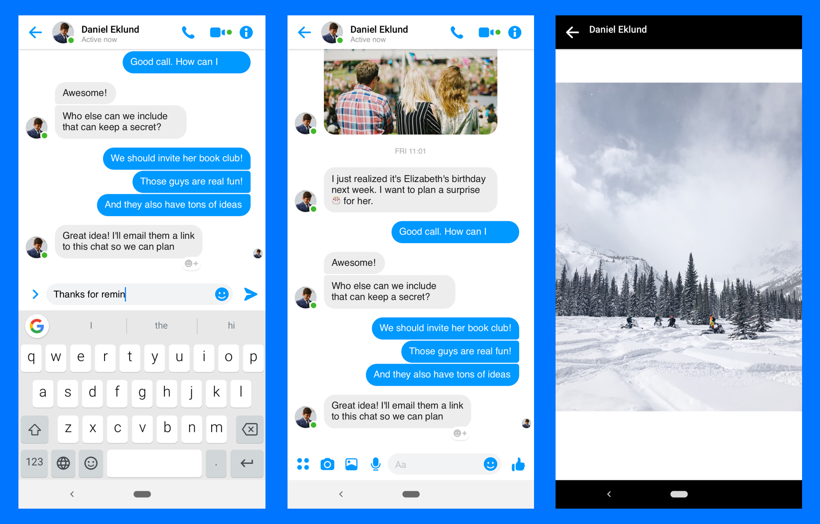 Facebook Messenger UI Kit for Android - The free kit is not just a design clone, it's actually a well organized Sketch Library as well. It contains icons, colors, components, spacing elements, etc.