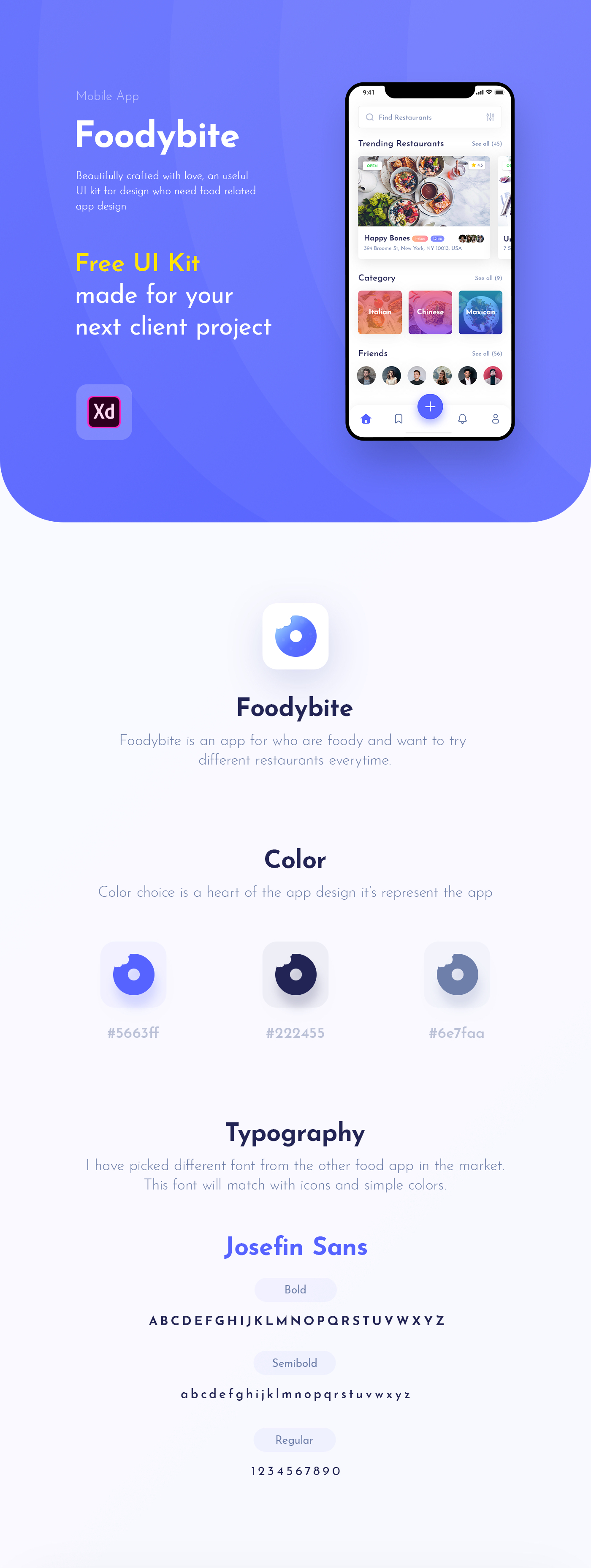 Foodybite - Free UI Kit for Adobe XD - Foodybite is a free UI Kit. It is easy to use for Adobe XD for who want to design an app related to food or restaurant services. The UI Kit pack included more than 30 customizable screens. All screens are fully editable. This UI Kit is free for personal & commercial projects.