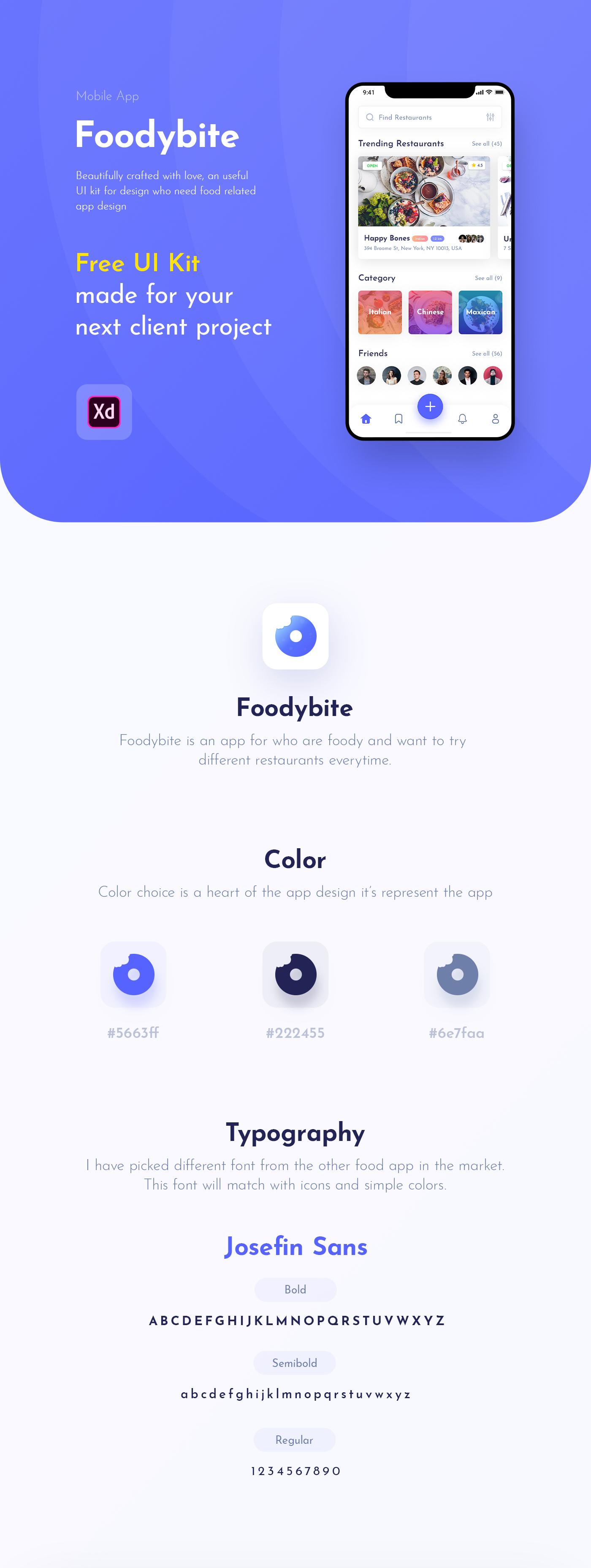 Foodybite - Free UI Kit for Adobe XD - uistore design