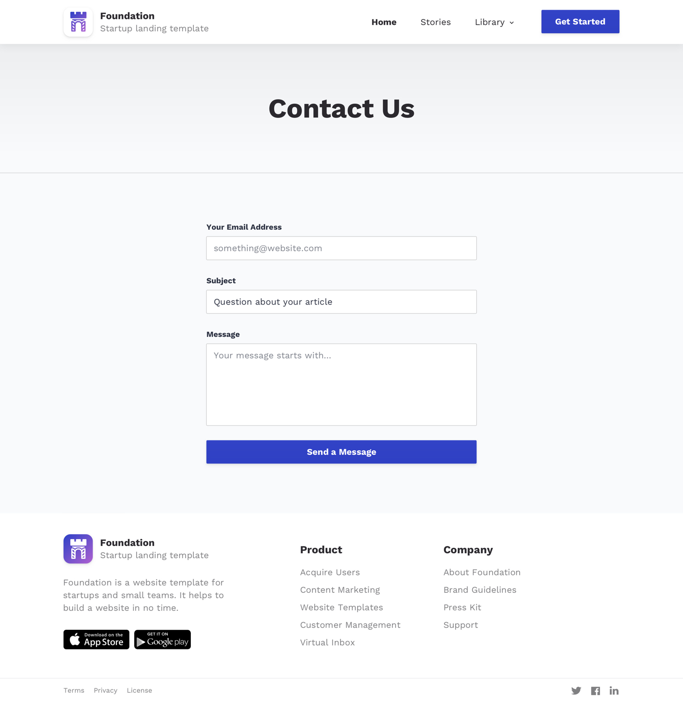 Foundation - Free Landing Page Design - Foundation is a free website design template for Sketch App. It consists of 5 premade pages and many pre-designed blocks. Foundation fits perfect for everyone who wants to design a website for a startup or a landing page. It uses free fonts from Google, free illustrations and icons.