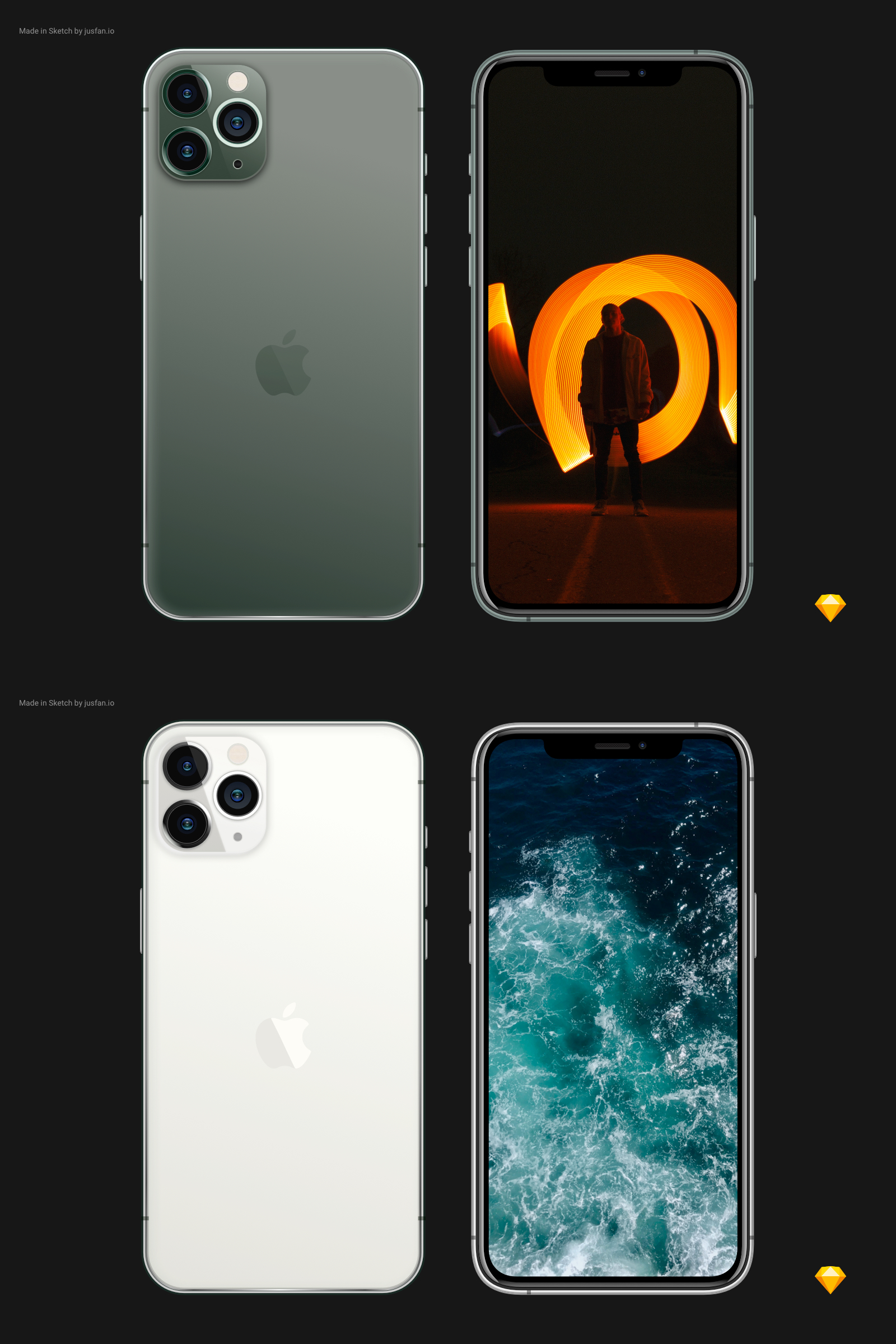 Free iPhone 11 Pro Mockup for Sketch - Feel free to use and modify for your needs.