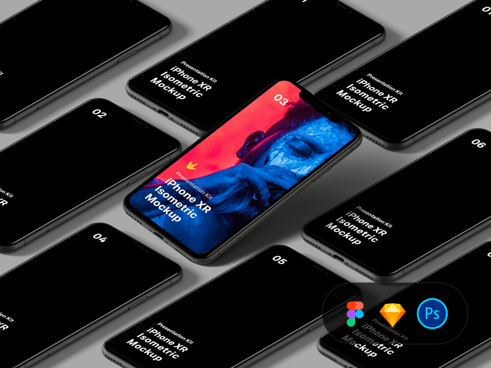 iPhone XR Isometric Mockup - Download Isometric iPhone XR mockups for Figma, Sketch, and Photoshop. Perspective disabled that means that you can change composition, drag-n-drop items to move them around a canvas.