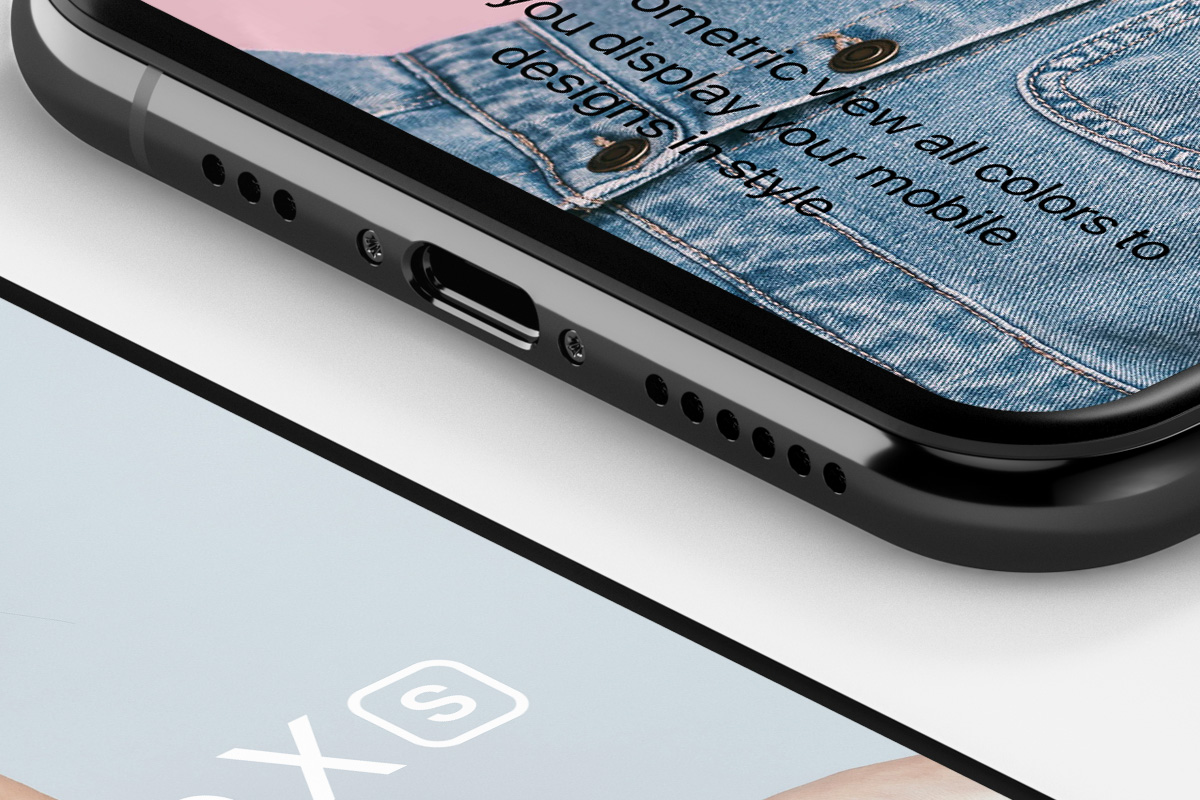 iPhone XS Isometric Free Mockup - This is a perspective psd iPhone XS mockup isometric set to showcase your designs with all the iPhone XS psd colors. Easily add your own graphics with the smart layers.