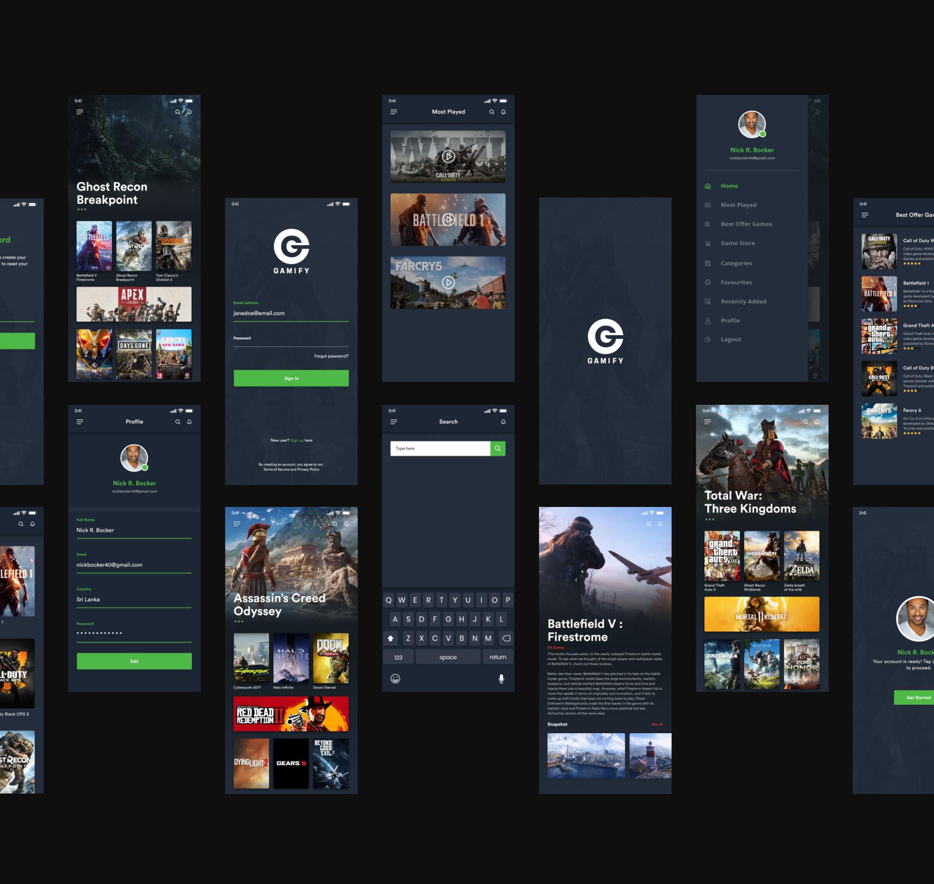 Gamify - Free Adobe XD UI Kit - A mobile UI kit for Gaming App