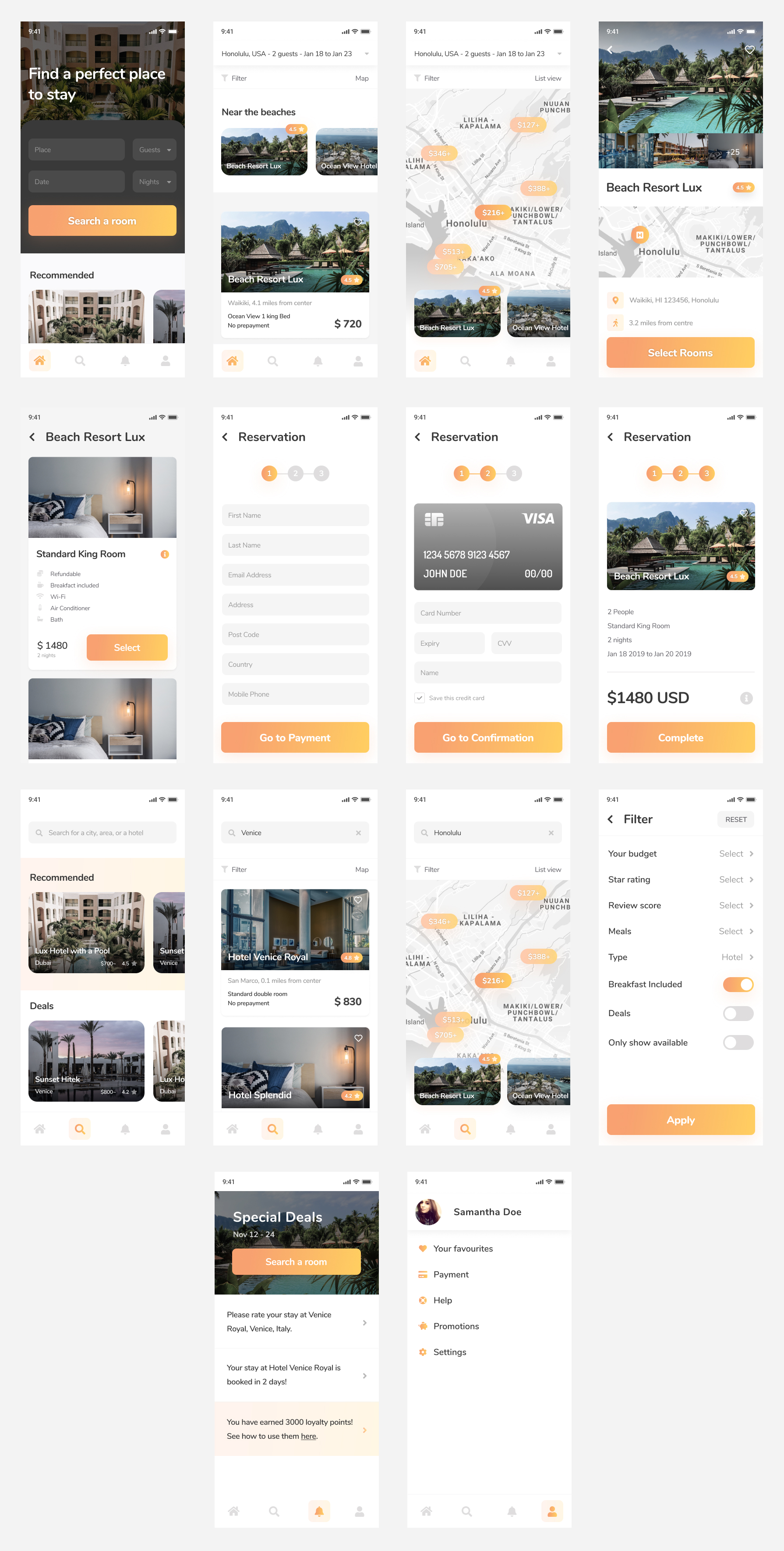 Hotelify - Hotel Booking App for Figma - Minimal and clean app design, 14 screens for you to get started.