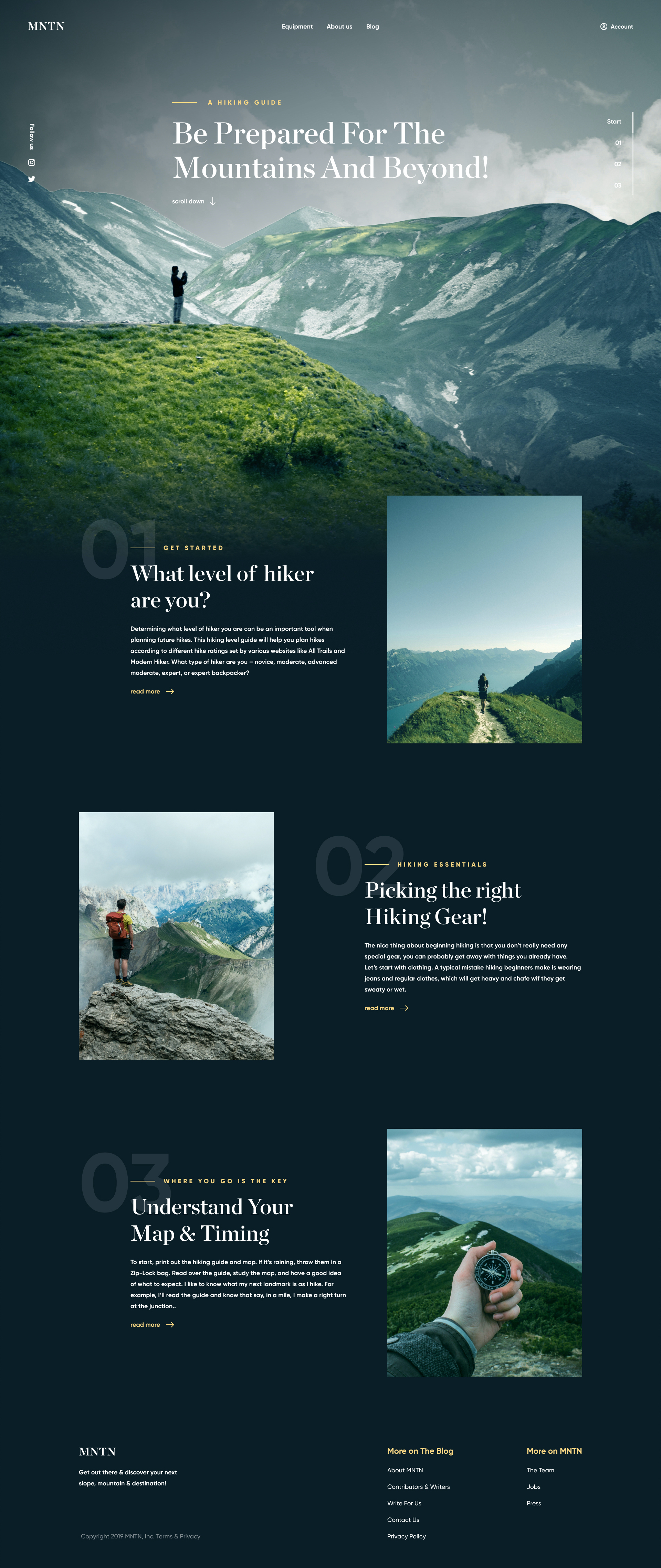 MNTN Free Landing Page for Figma - Minimal and clean landing page design for a blog about hiking and traveling.