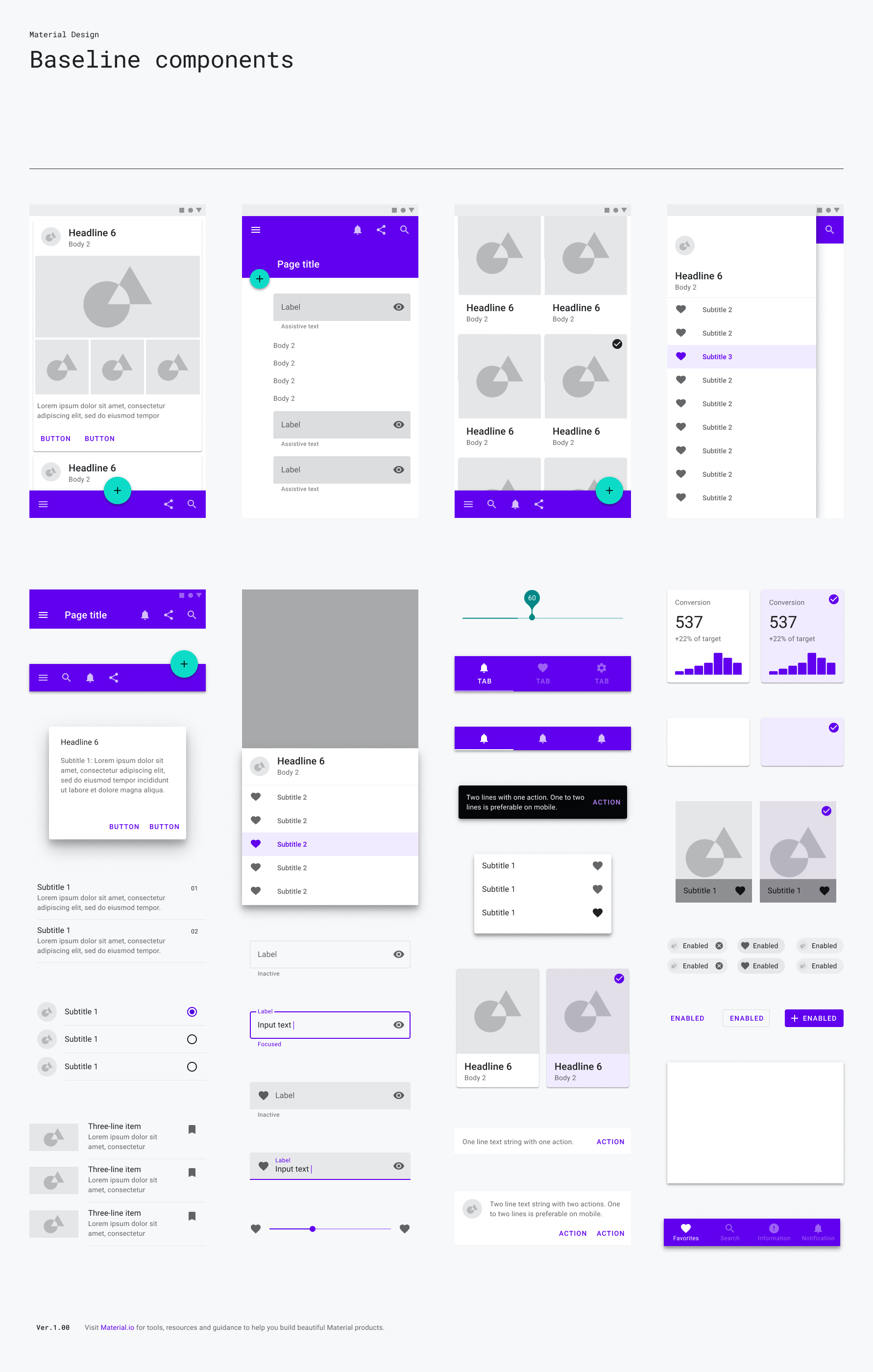 Material Baseline Design Kit for Figma - Create your own baseline Material layouts with this component library for Figma.