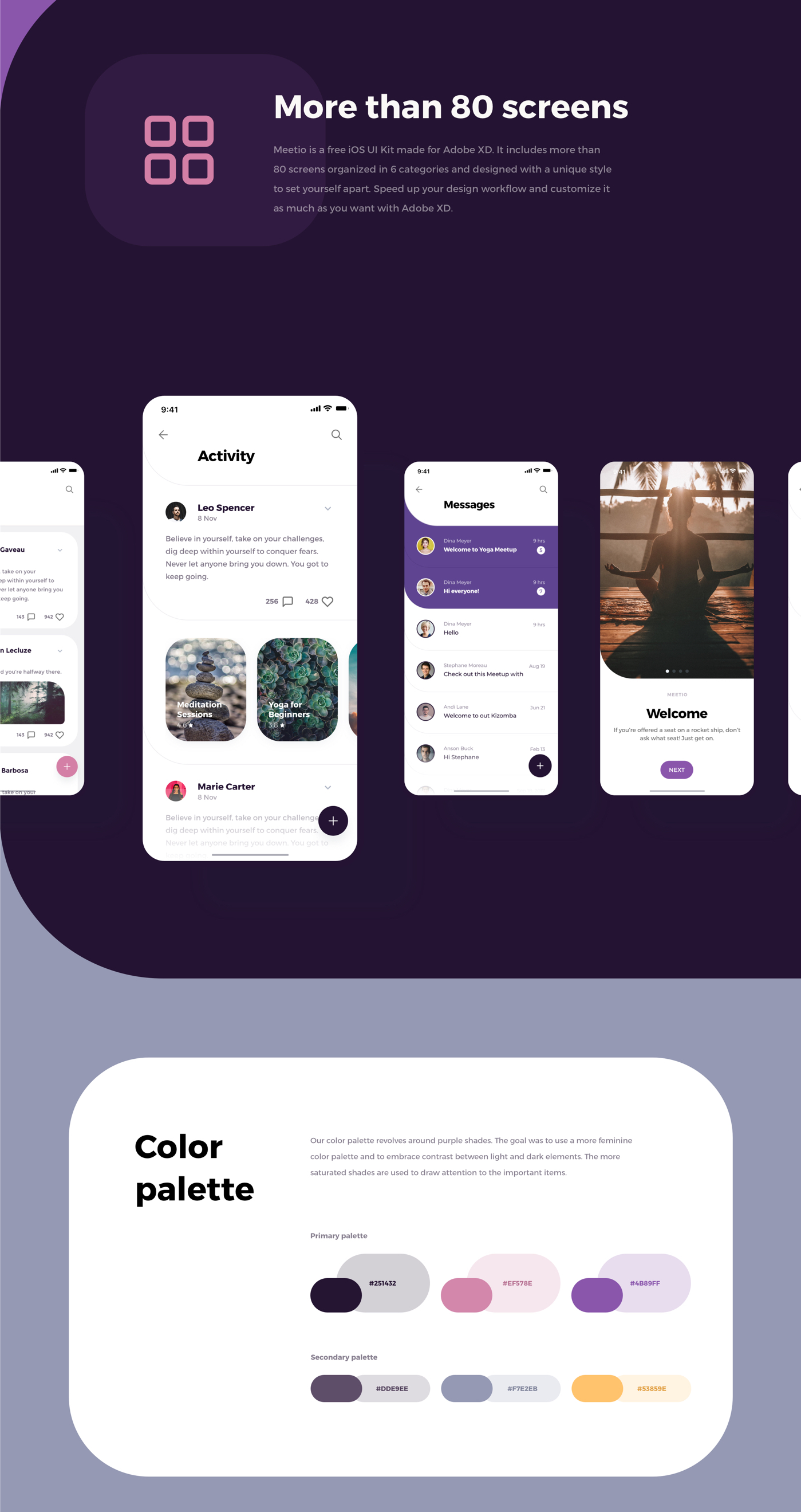 Meetio UI Kit for Adobe XD - Say hi to the Meetio UI Kit for @Adobe XD. More than 80 screens, very unique and yet customizable for your needs!
