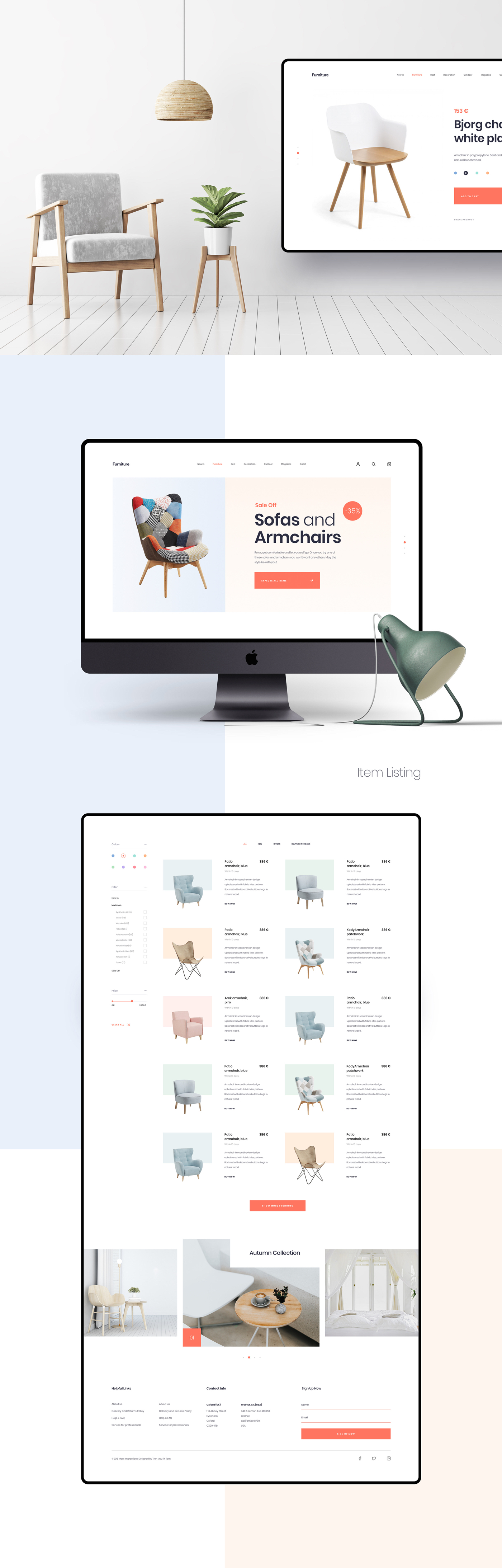 MI Furniture Free Sketch Template - MI Furniture is a Free Multi-Purpose Sketch App Template built to showcase lifestyle, minimalistic and modern furniture and accessory websites. 07 Artboards are included in the design. The artboard is fully editable, layered, carefully organized.