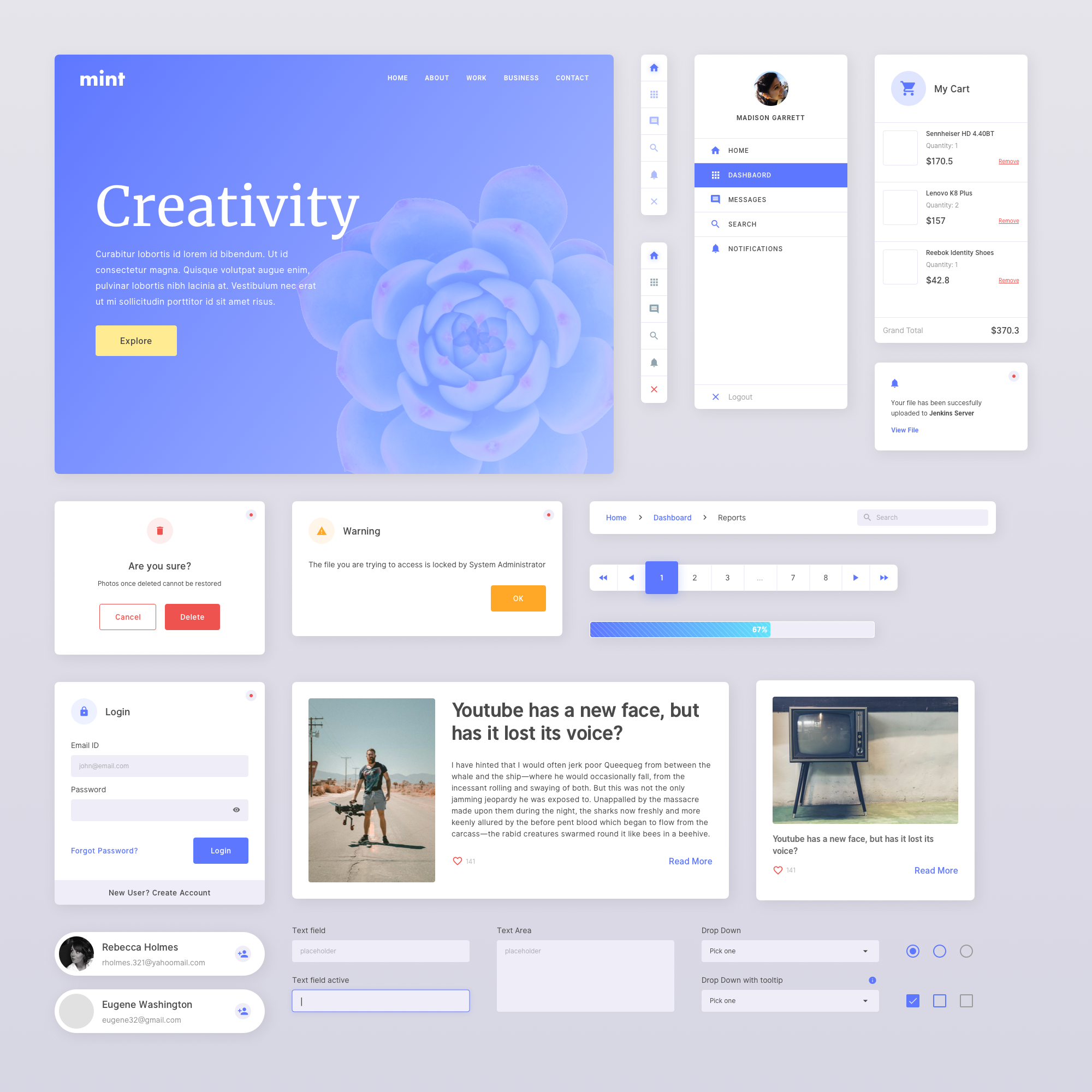 Mint - Free Sketch UI Kit - Unique styling to begin design projects for websites