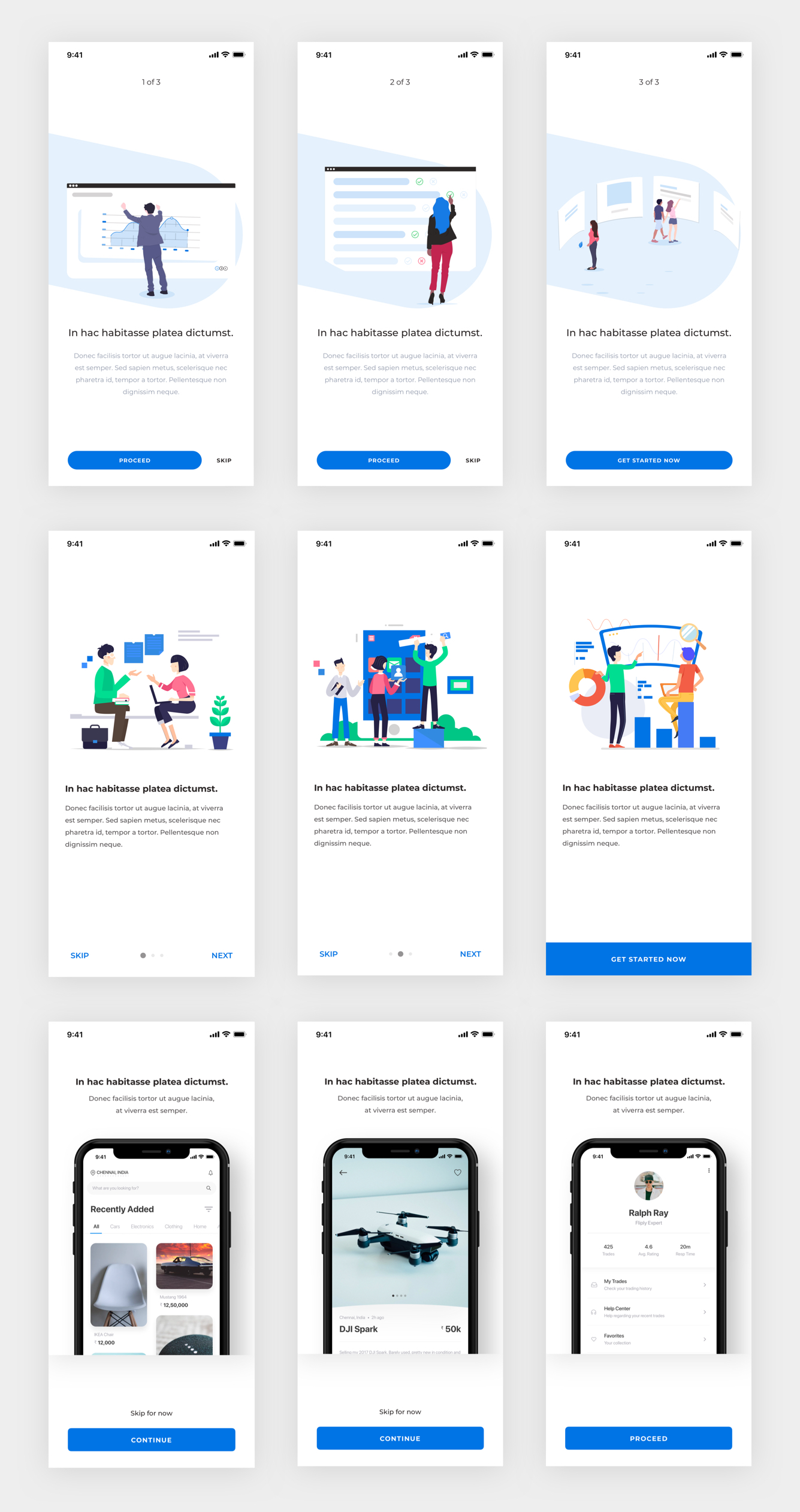 Mobile App Onboarding Screens - Minimal and clean app's onboarding process design, 9 screens for you to get started