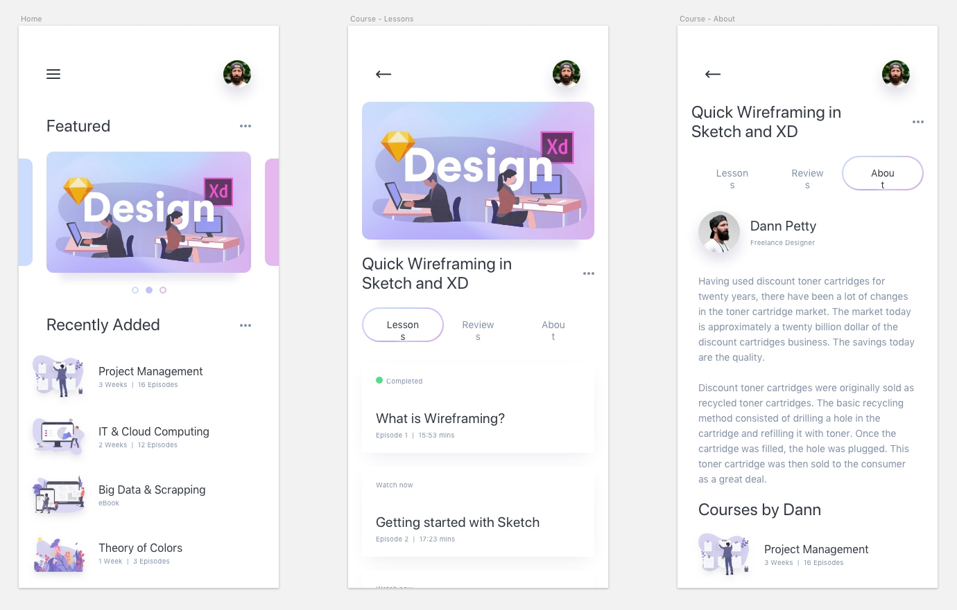 Online Courses UI Kit - Minimal and clean app design, includes 3 screens