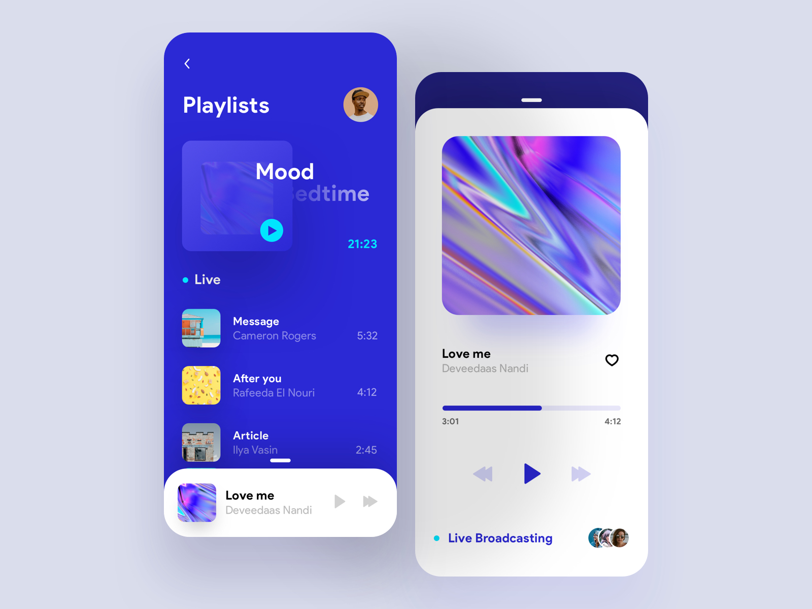 Orizon Music Player UI Kit - Minimal and clean music player, includes 3 screens.