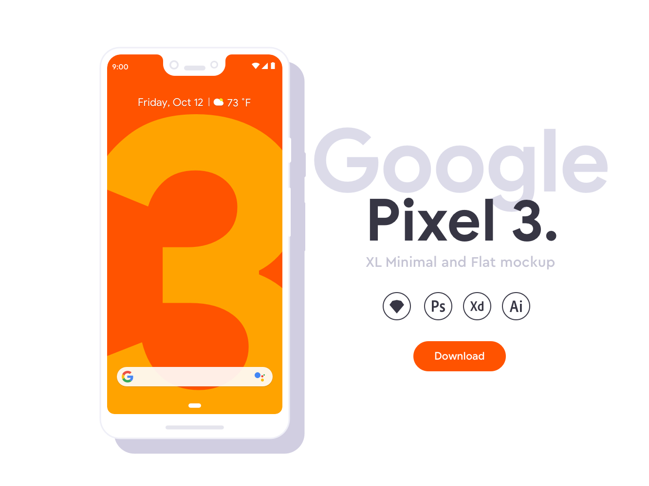 Google Pixel 3 XL Flat Mockups - Minimal clean mockups for Google Pixel 3 XL. Fully editable Including XD, Sketch, PSD and AI files