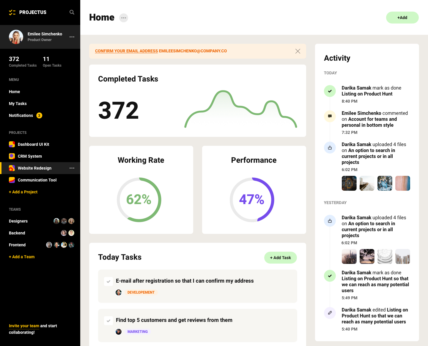 Project Management Tool UI Kit - Minimal and clean UI Kit design, 12 screens for you to get started. Each screen is fully customizable, exceptionally easy to use and carefully assembled in Sketch and Adobe XD.