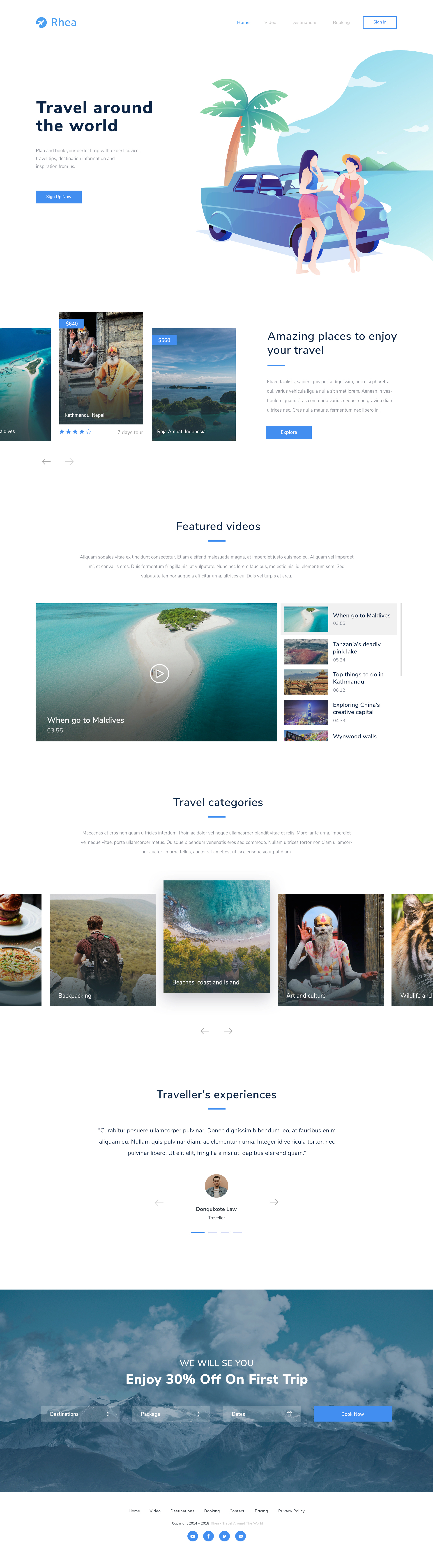 Rhea - Travel Landing Page - Elegant and clean landing page design with cool illustration.