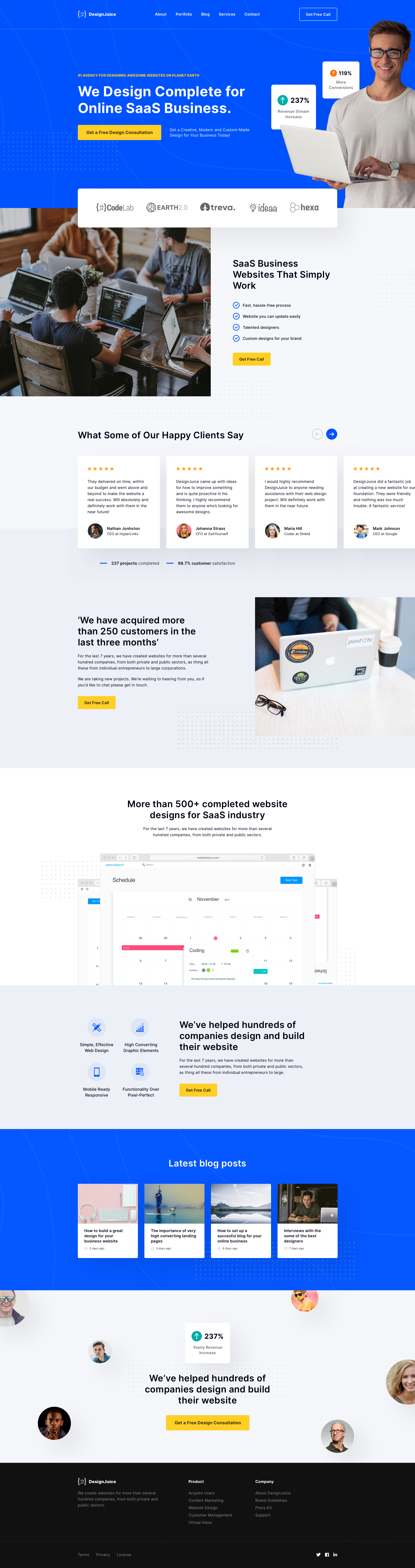 SaaS Business - Free Landing Page for Sketch - Elegant and clean landing page design for your agency.