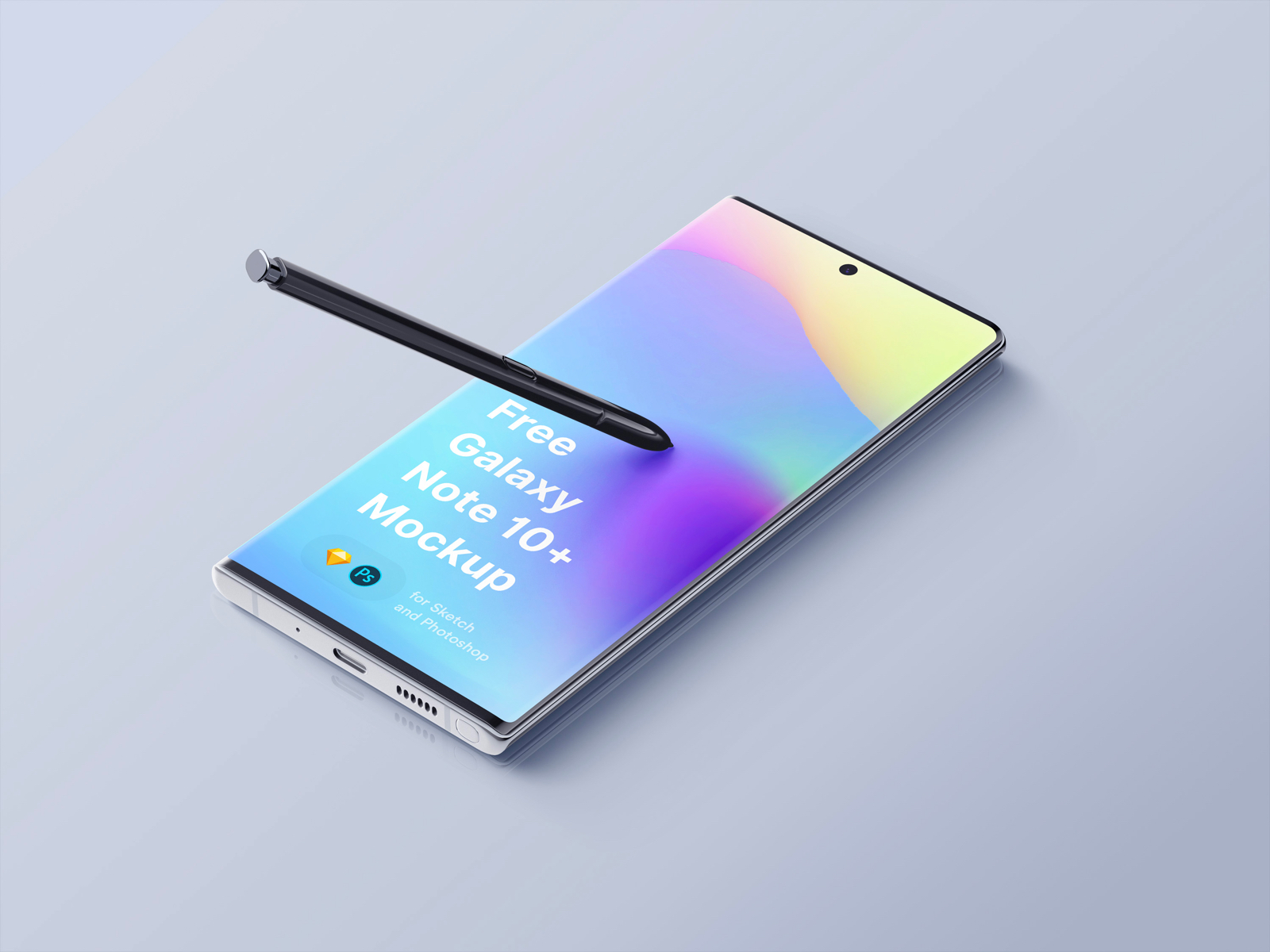 Samsung Galaxy Note 10 Plus Mockup - Download free Samsung Galaxy Note Plus Mockup. For your personal and commercial projects. In thee different variations and isolated pen. Clay versions also included.