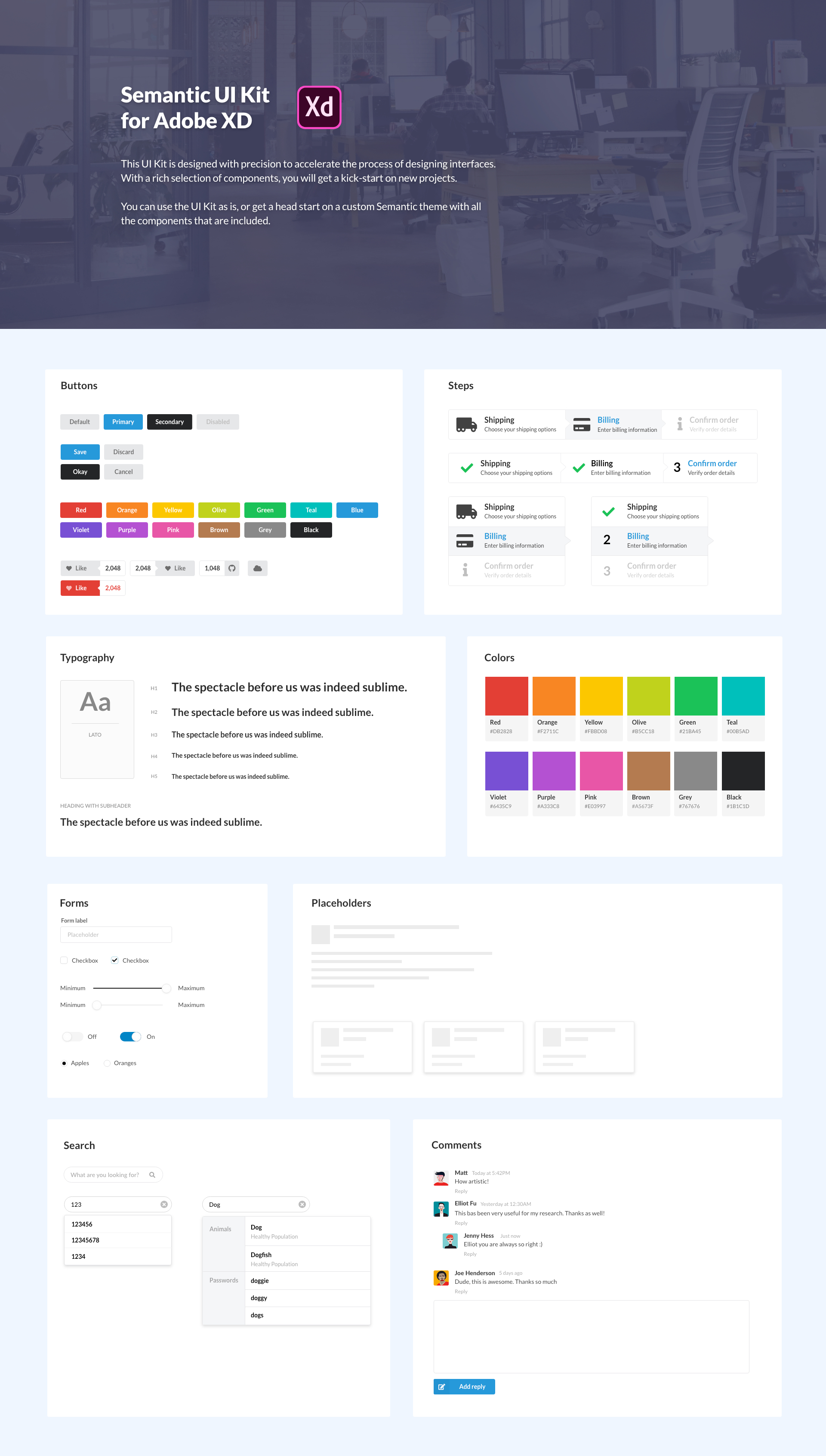 Semantic UI Kit for Adobe XD - 80+ high quality components to kick-start your design system