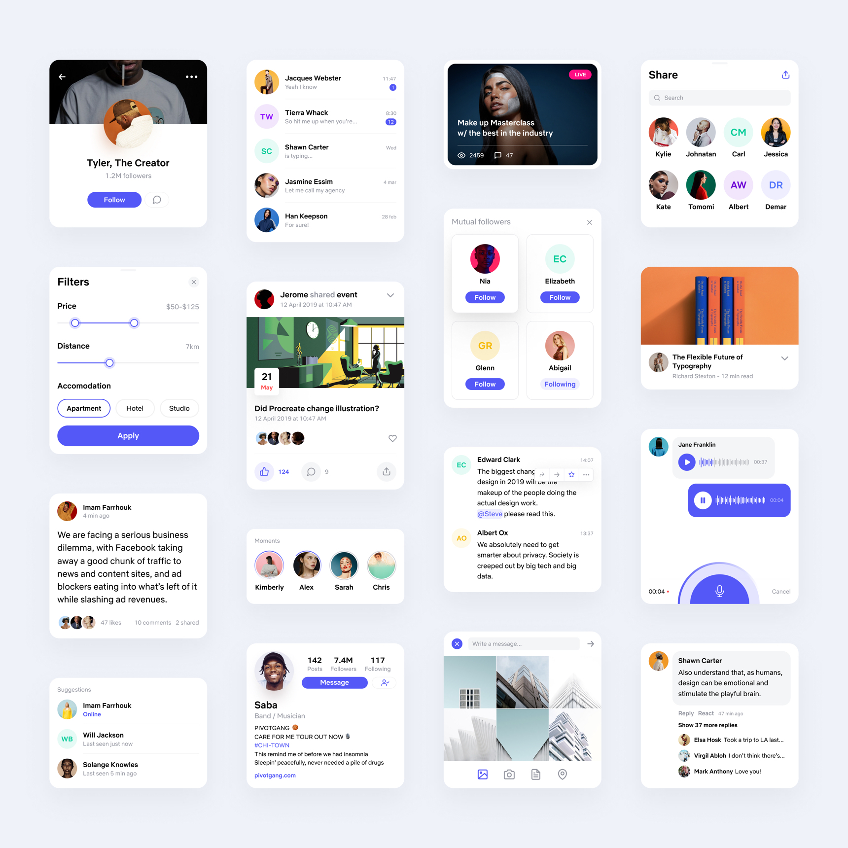 Social UI Kit for Figma - Minimal and clean UI Kit, 16 screens for you to get started