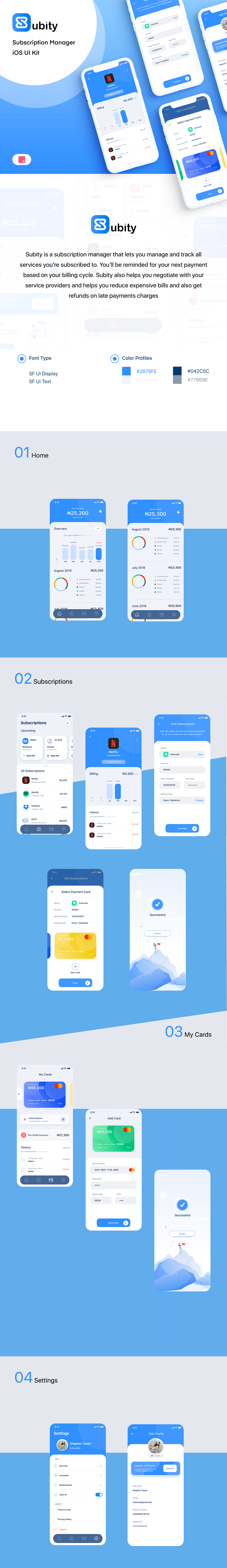 Subity UI Kit - Subscription Manager - Subity is a subscription manager app designed with InVision Studio to help track and manage your subscriptions.