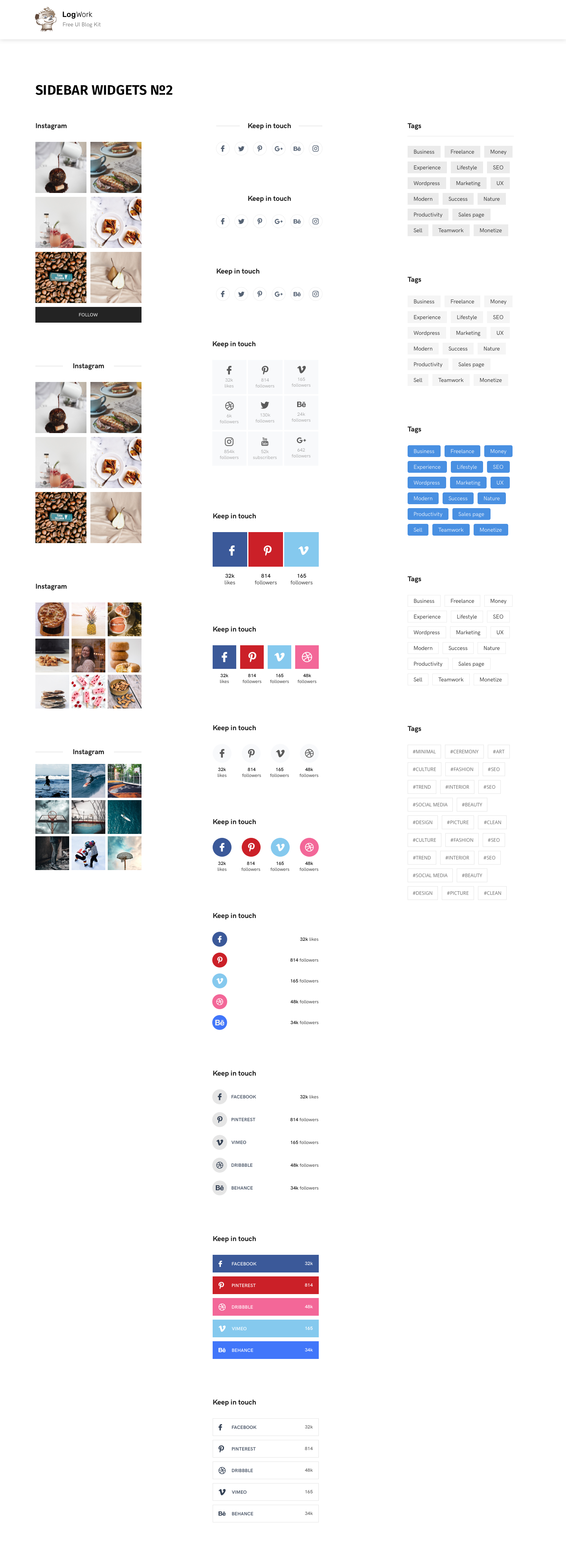 UI Blog Kit Template for Sketch - Multiple post design types, customized headers and footers. Fully responsive with 12 columns bootstrap grid (1170px).