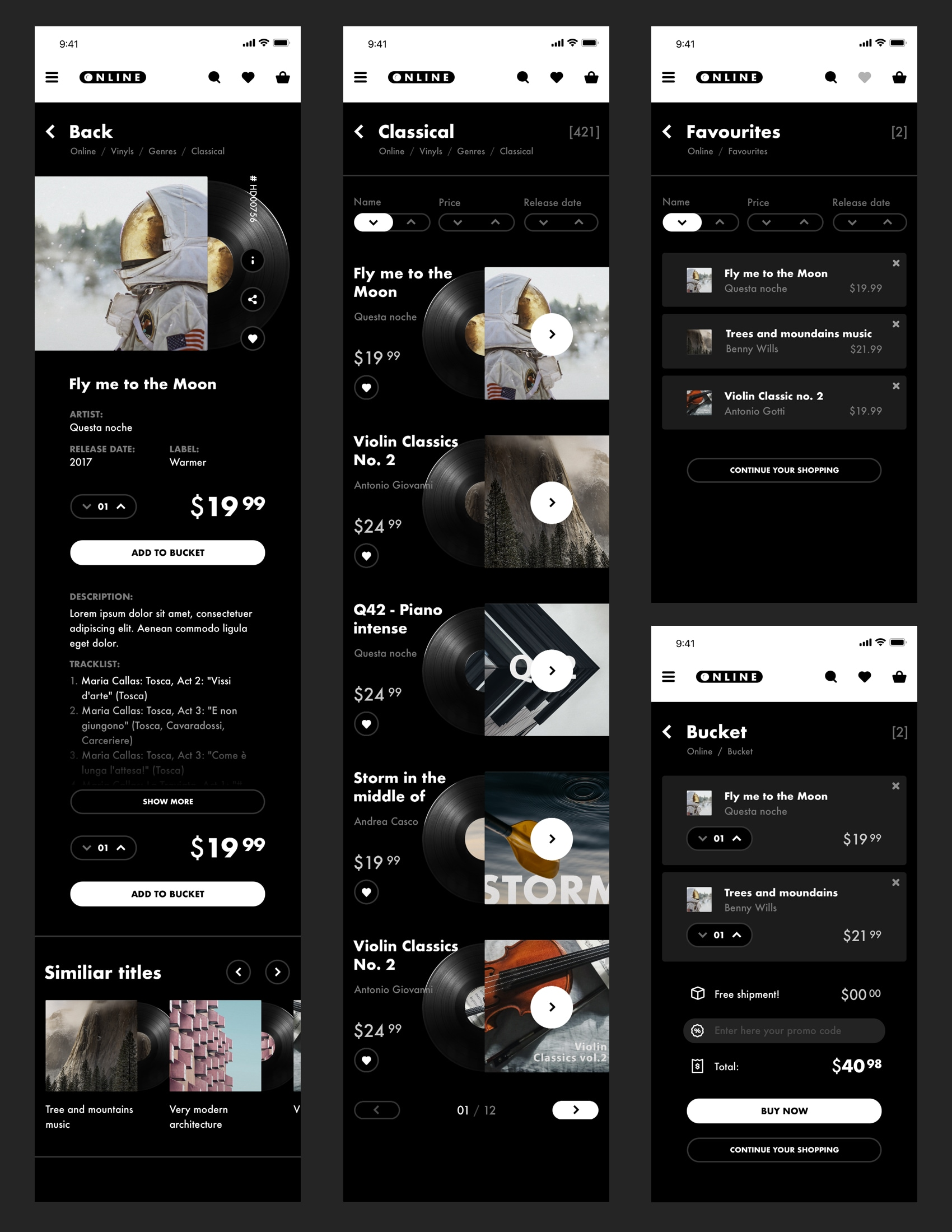 Vinyl Store - A Free eCommerce UI Kit - This is a conceptual design for an online Records Store