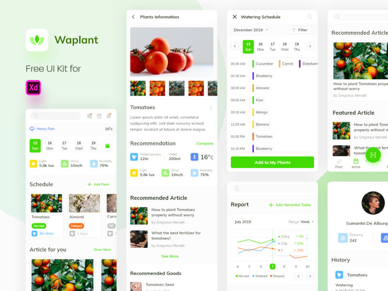 Waplant Plants - Free UI Kit for Adobe XD | Search by Muzli