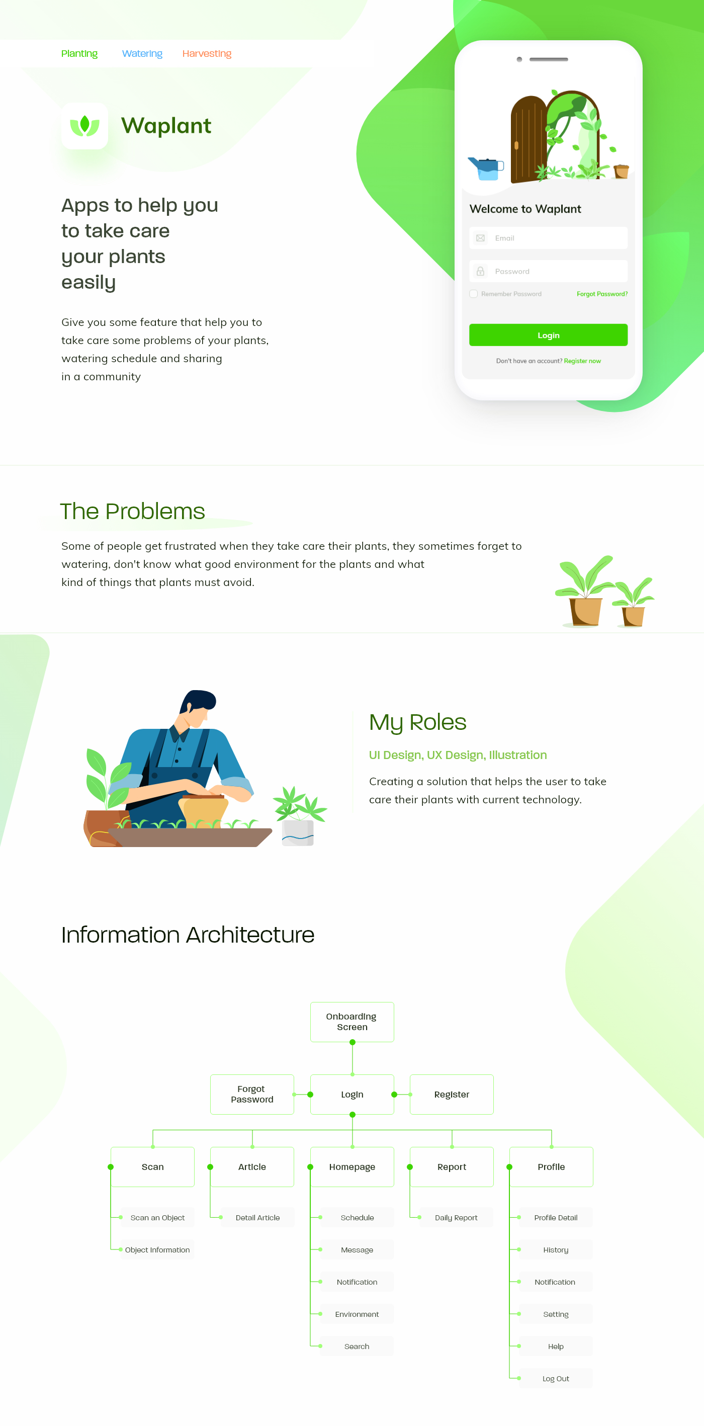 Waplant Plants - Free UI Kit for Adobe XD - Minimal and clean app design. Waplant Plants helps you to take care your plants easily.