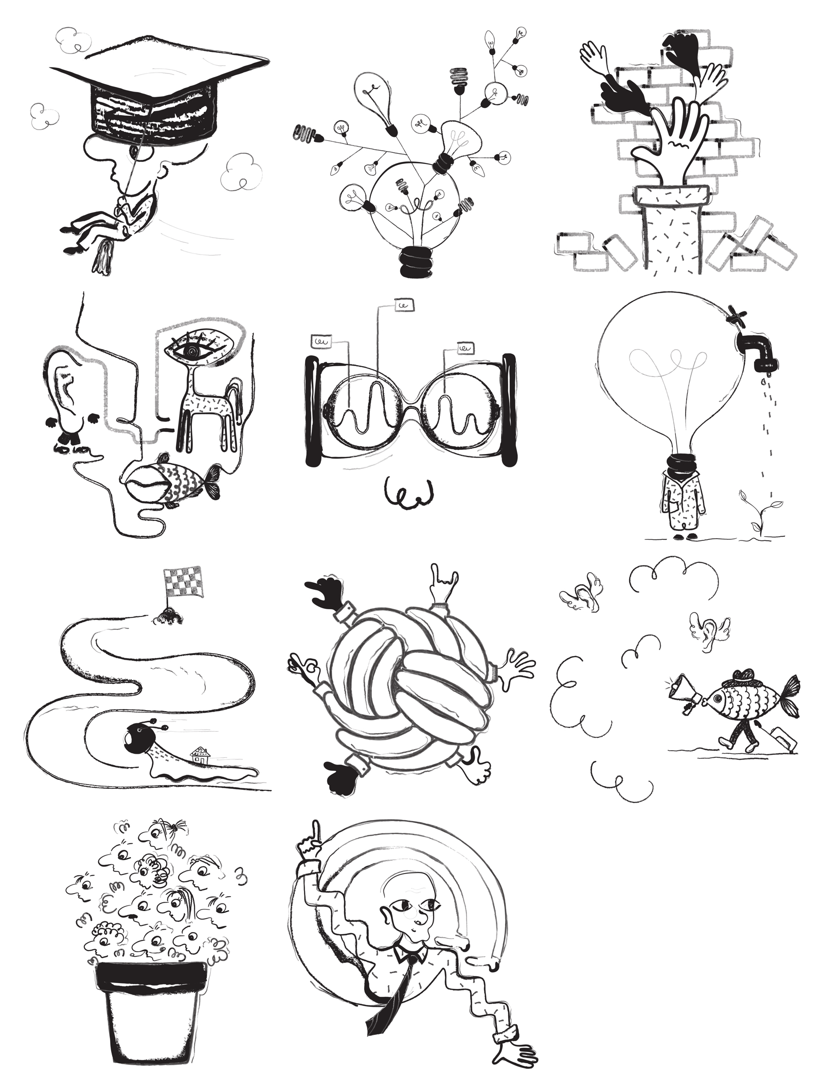 Absurd - Free Surrealist Illustrations - Download surrealist illustrations. Use free vector art for your landing pages, presentations and apps. These artworks combine the absurdity and childishness.