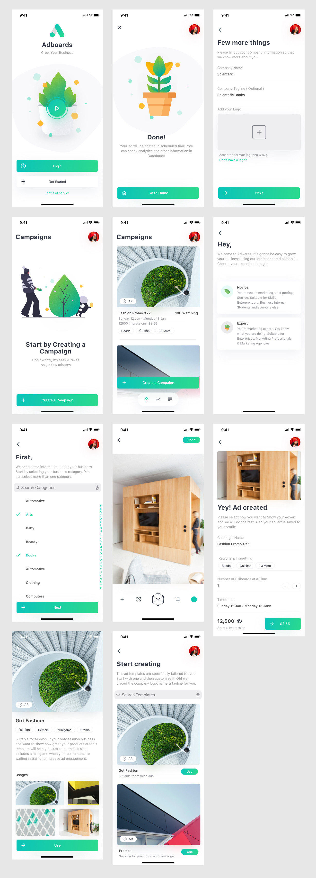 Adboards UI Kit for Sketch - Adboards is a concept project for posting ads to digital billboard concept for both novice and experts alike. Created a simple flow with AR view to check how your advert will look in the places. You can download the source sketch file for free. Minimal and clean app design, 11 screens for you to get started.