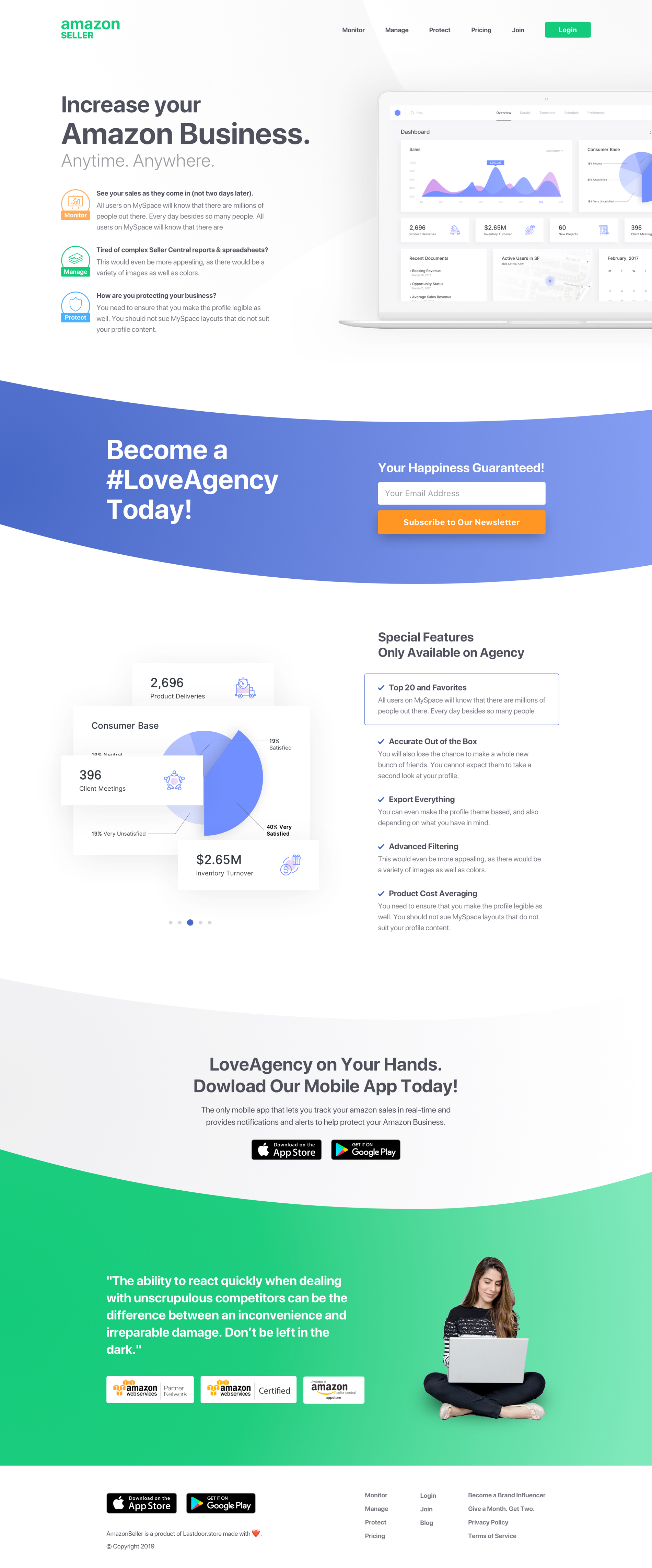 Amazon Seller Landing Page for Sketch - AmazonSeller Landing UI is a modern landing page for agencies and personal use. Best for agencies that run amazon related businesses. Just download and start customizing the design using Sketch.
