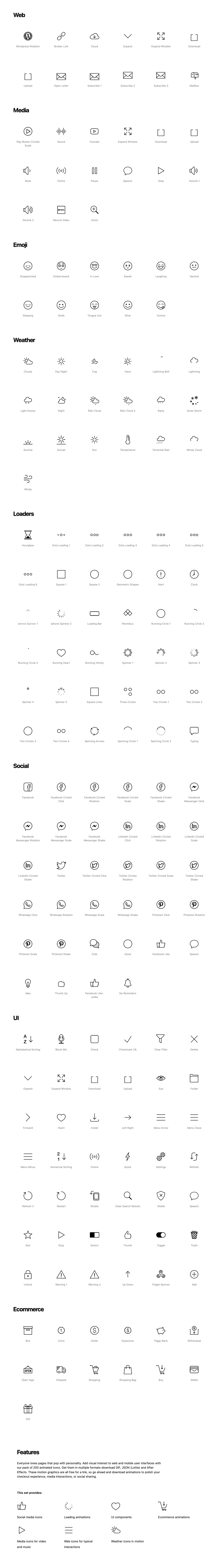 Animated Icons - 200 Free Icons - Add user delight to your site with this free pack of 200+ animated icons in JSON (Lottie), GIF, and After Effects formats.