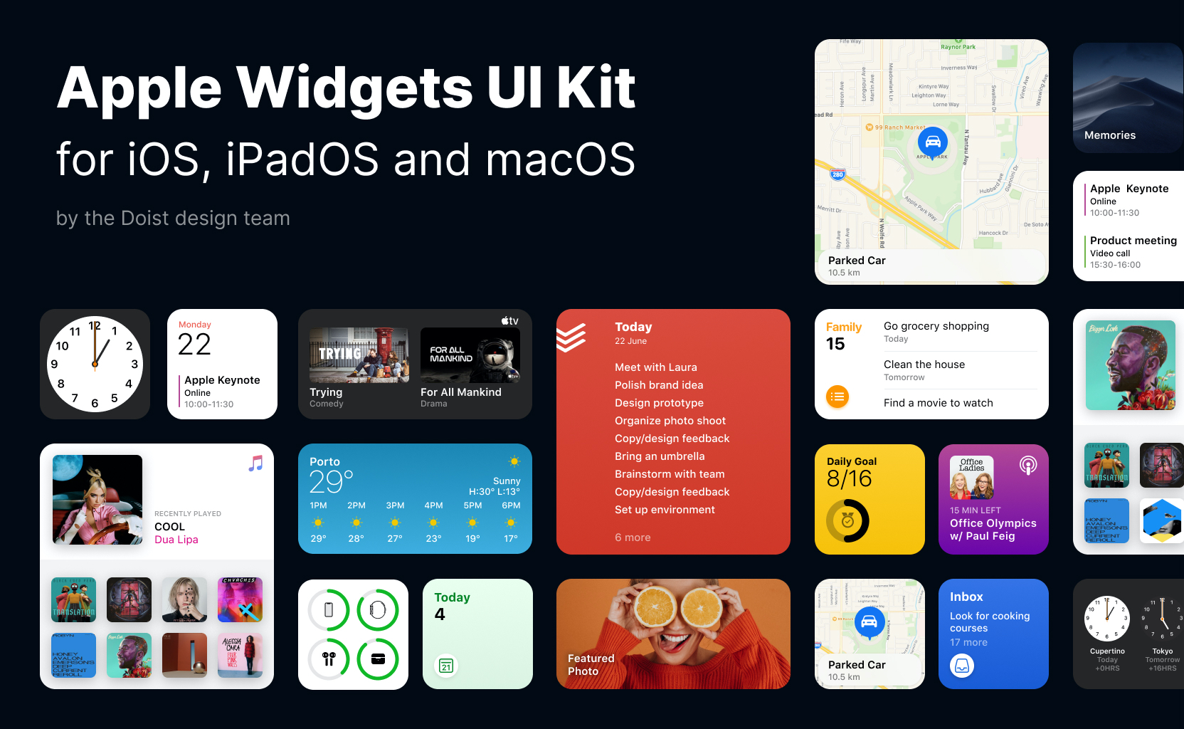 Apple Widgets UI Kit for Figma - Doist design team recreated the recently announced Apple Widgets from iOS 14 for you. The goal of this UI kit template file is to help you kick start your designs and prototypes. We hope it is helpful!