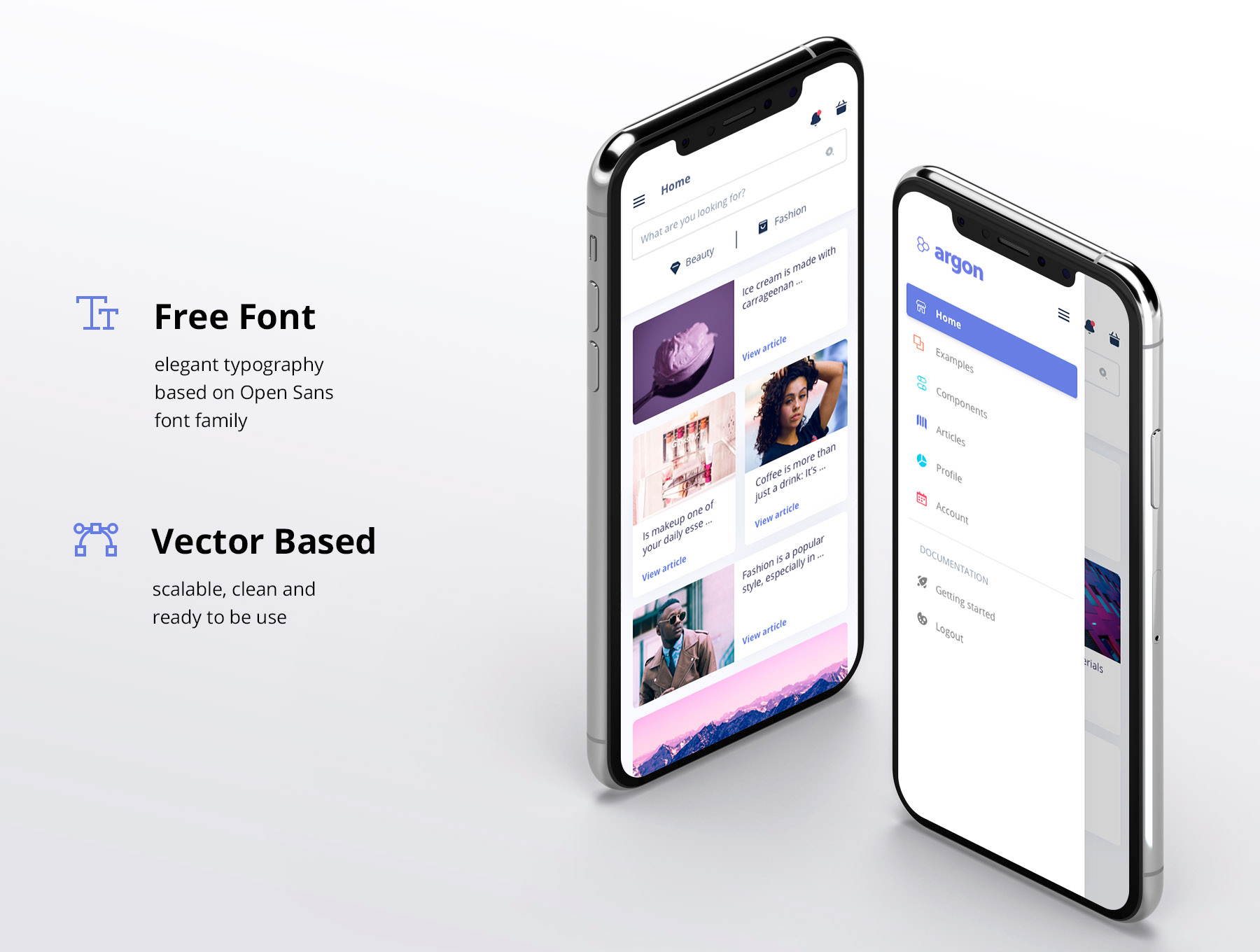 Argon Mobile UI Kit - Argon Mobile UI Kit accelerates the design process and helps you swiftly create fresh and complex designs. All the components are designed to look great together, following the same design pattern. Each screen is fully customizable, exceptionally easy to use and carefully assembled in Sketch, Figma, Adobe XD