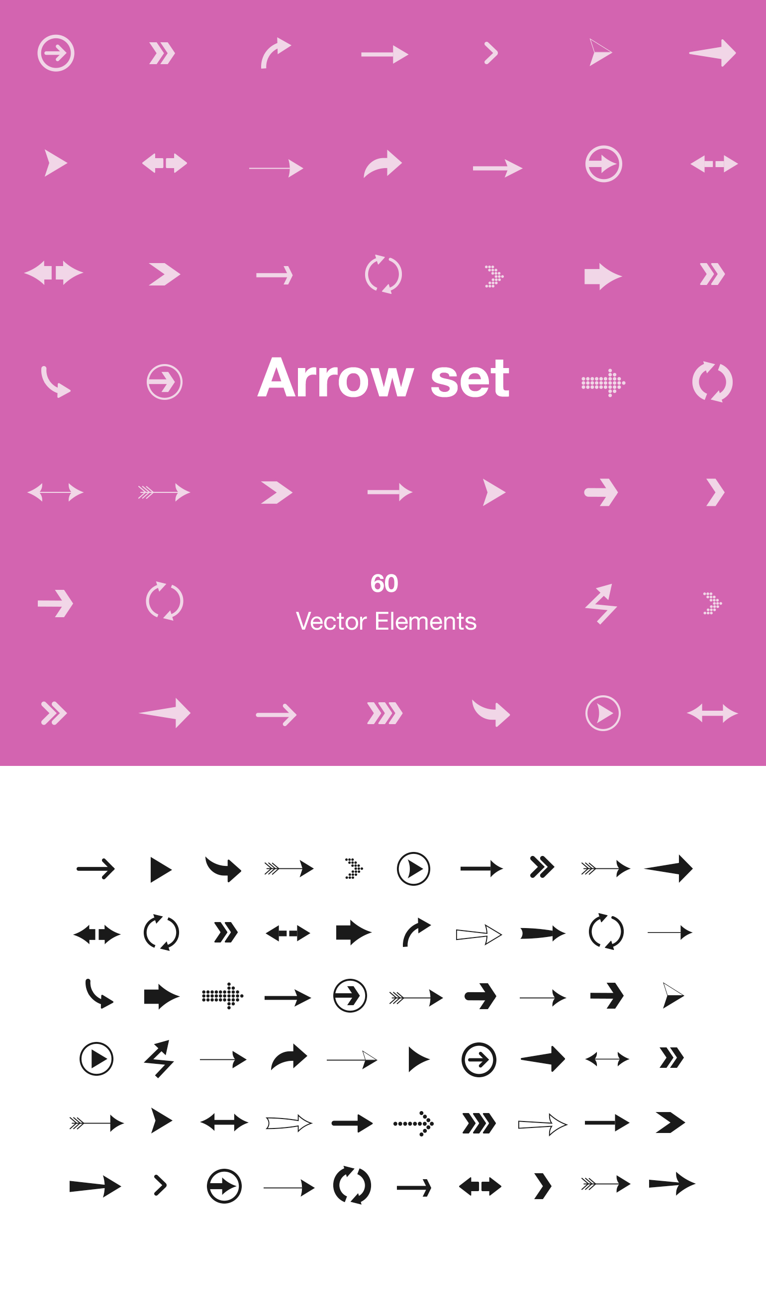 Arrow Set - 60 Vector Elements - This resource contains 60 vector based arrows that can be used by designers and developers. Use the arrows in your mobile app, on your website or in presentations and change the colors to make them fit into your theme.
