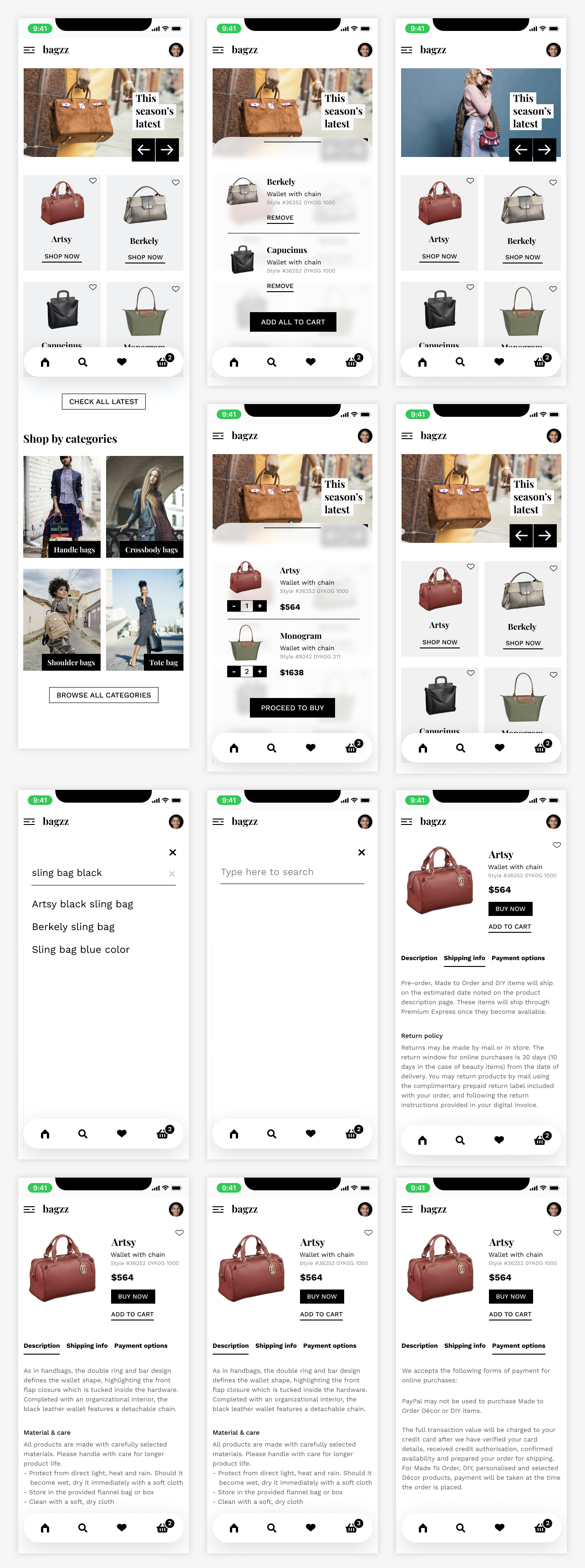 Bagzz - Free Shopping UI Kit for Figma - Bagzz is a minimal & modern shopping app UI kit. This free UI kit has basic app screens and prototypes to get you started.