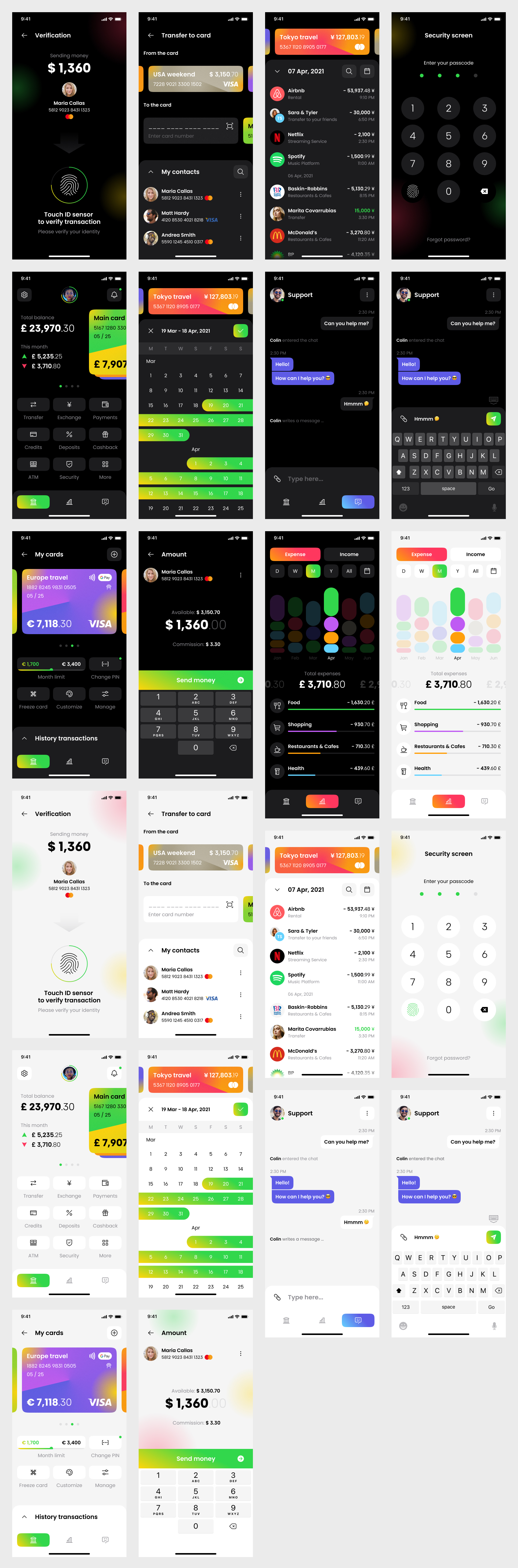 Banking App Free UI Kit for Figma - Clean and clear UI Kit with necessary stuff to create design projects. It features 22 mobile screen pages to get you started on your projects.